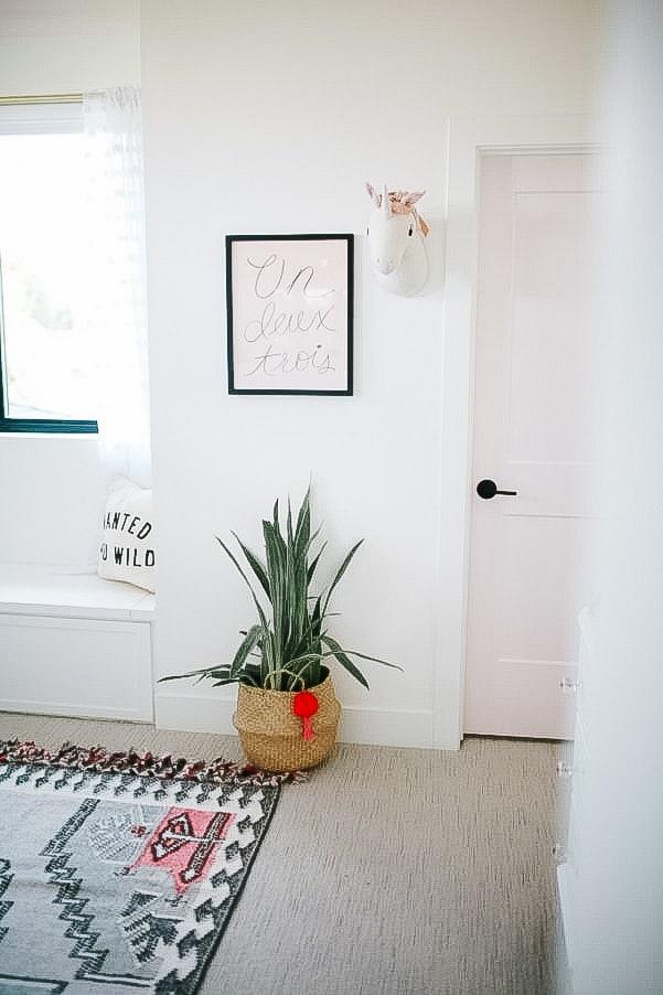 Modern little girls room with pink door