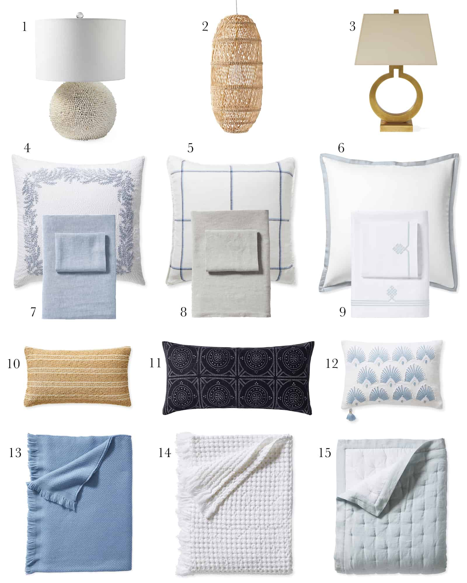 coastal modern bedroom decor from Serena and Lily
