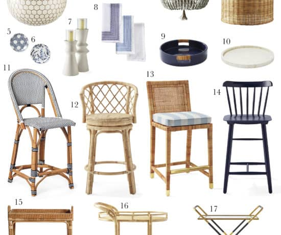A collage of coastal modern dining room furniture and decor from Serena and Llily
