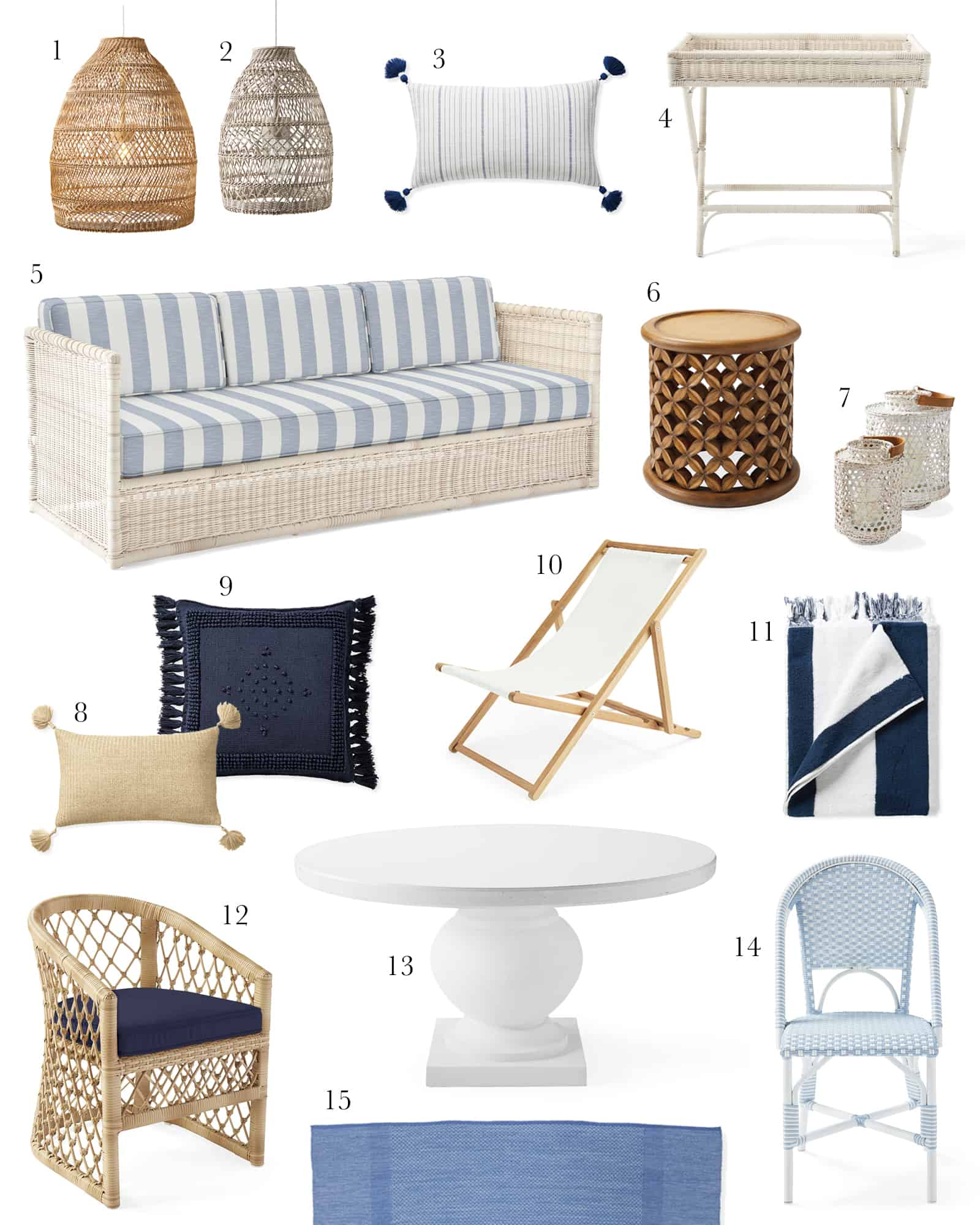 collage of coastal modern patio furniture from Serena and Lily
