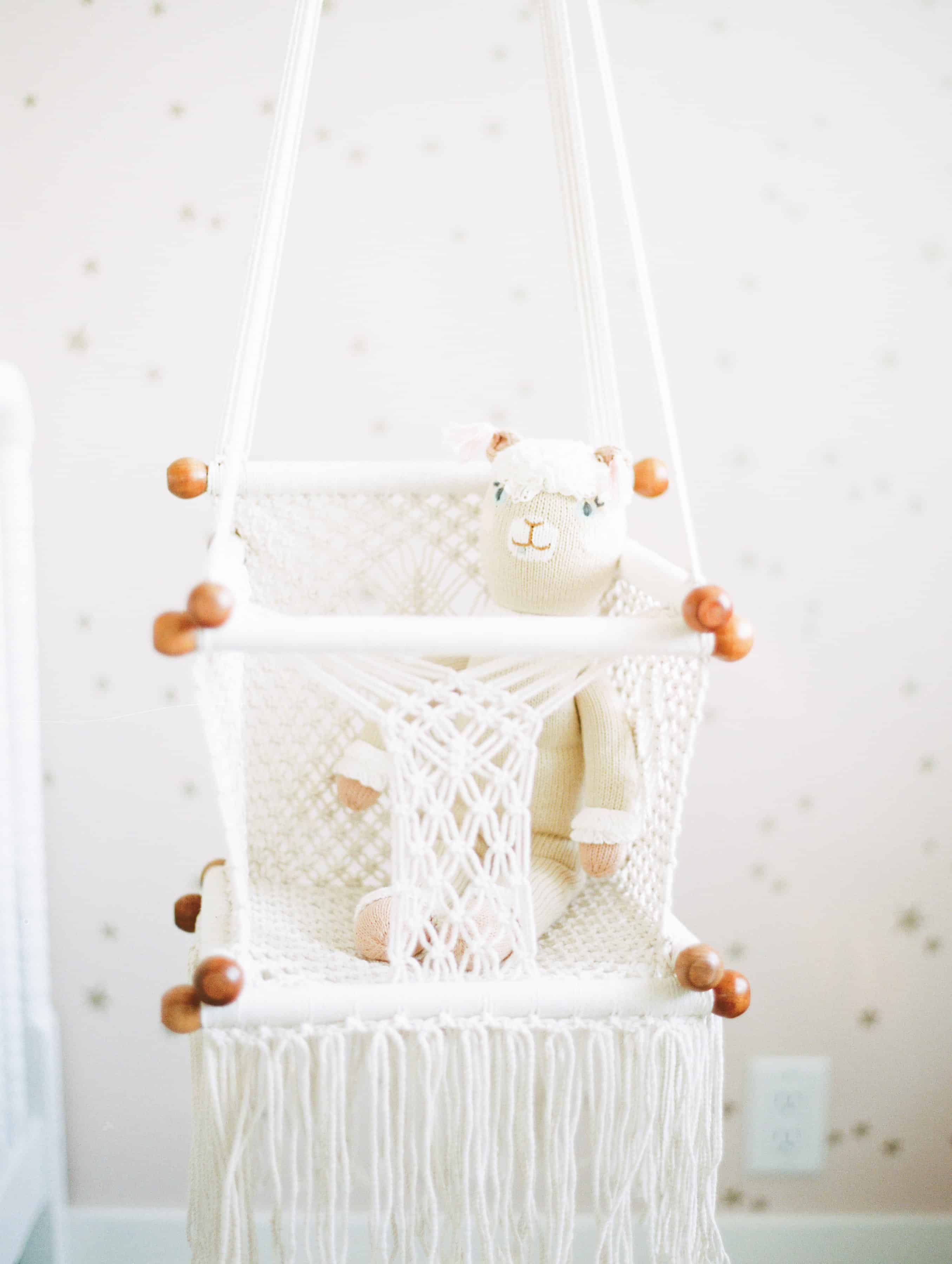 Hanging Croched baby swing in nursery