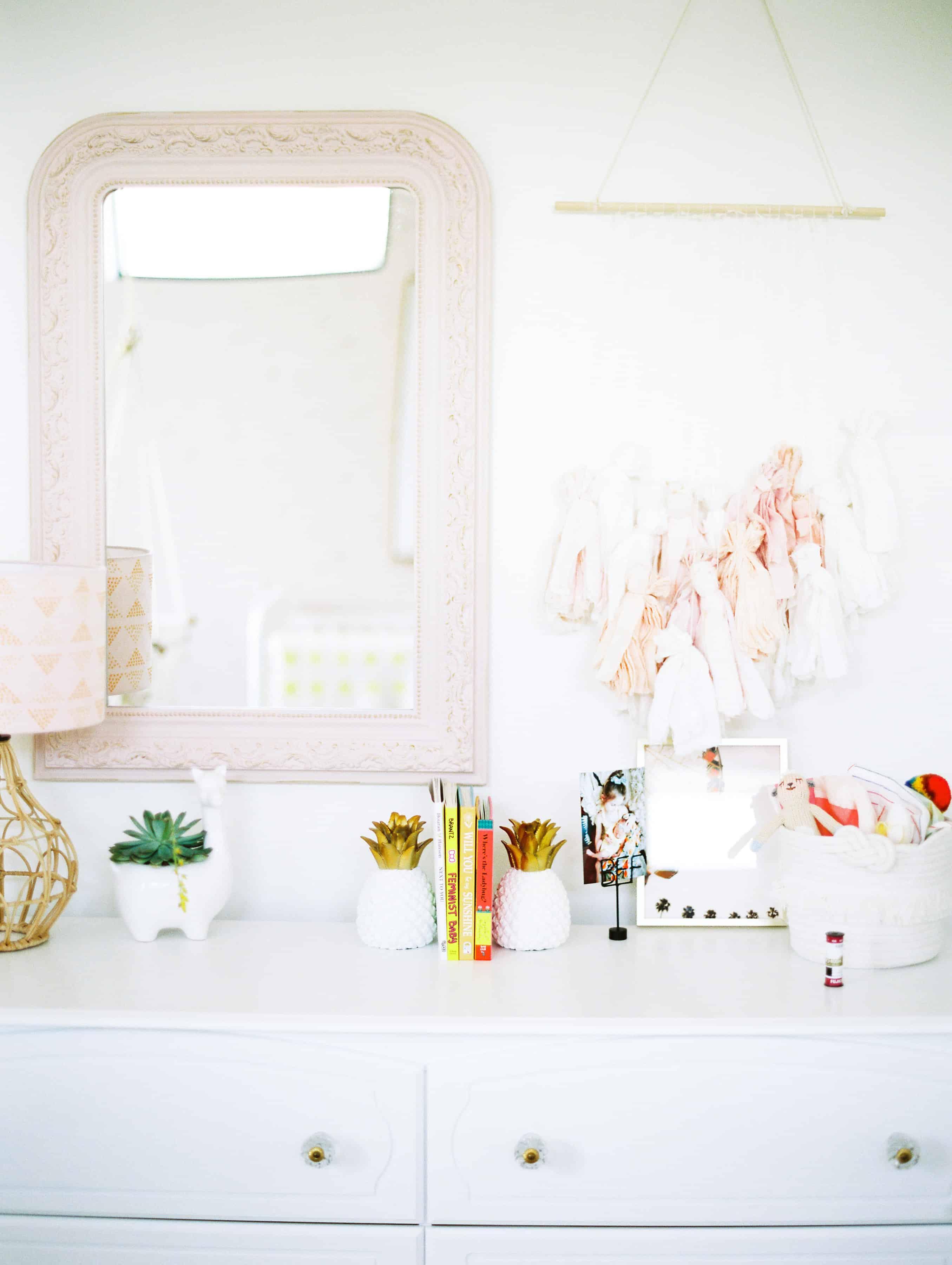 Boho Chic dresser decor in little girls nursery