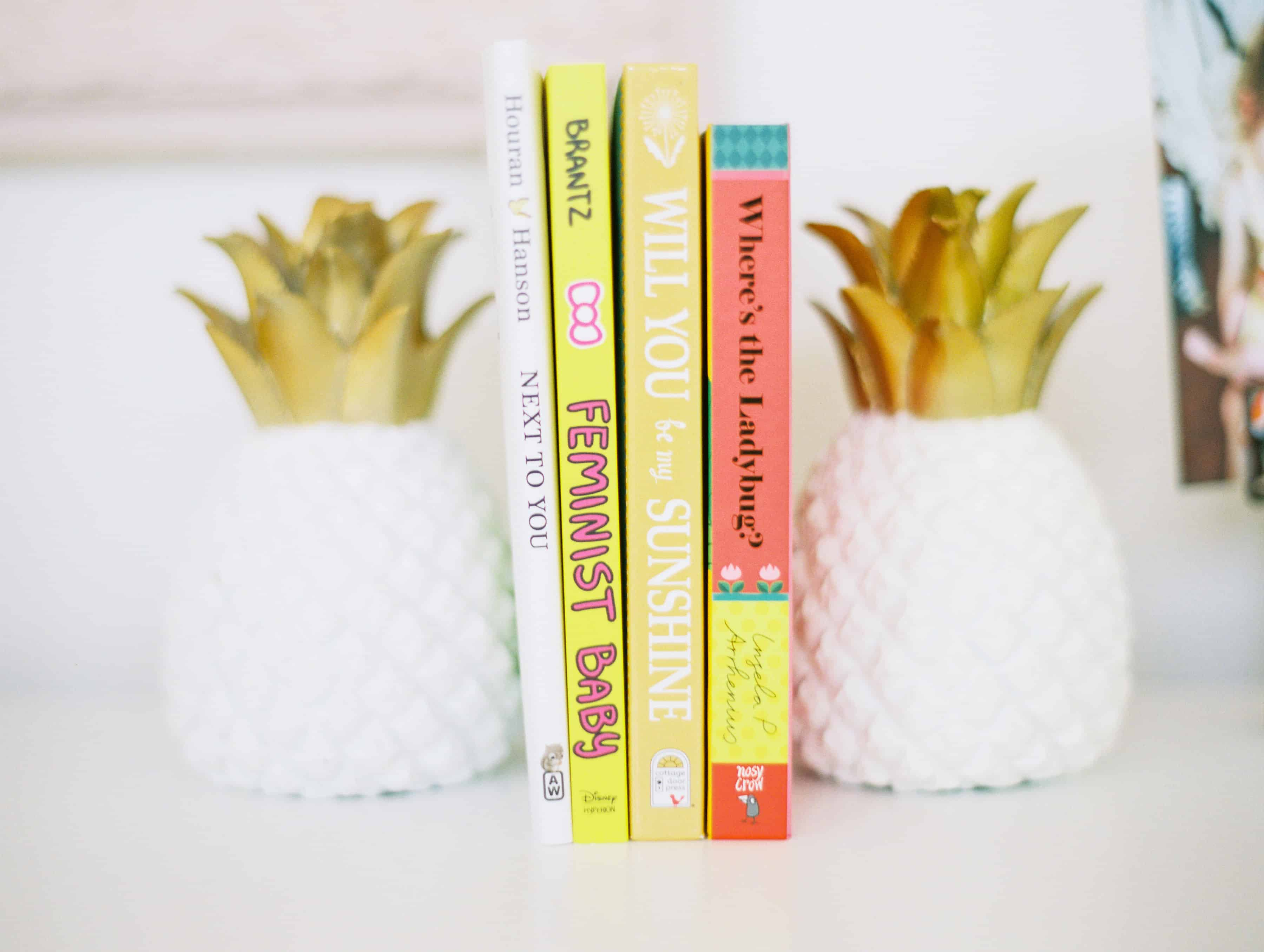 Pineapple Book ends with little girl books