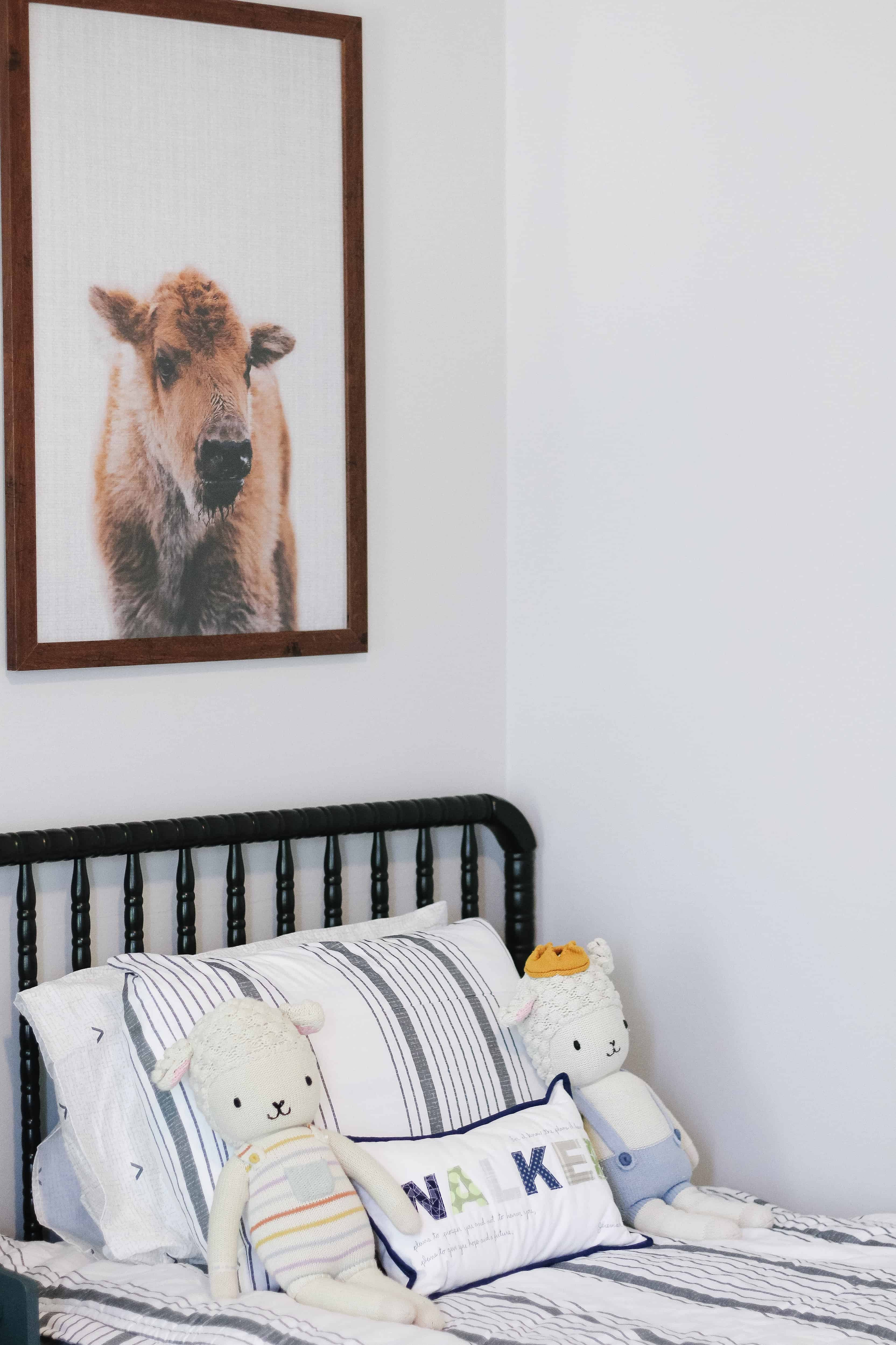 baby buffalo print over bed