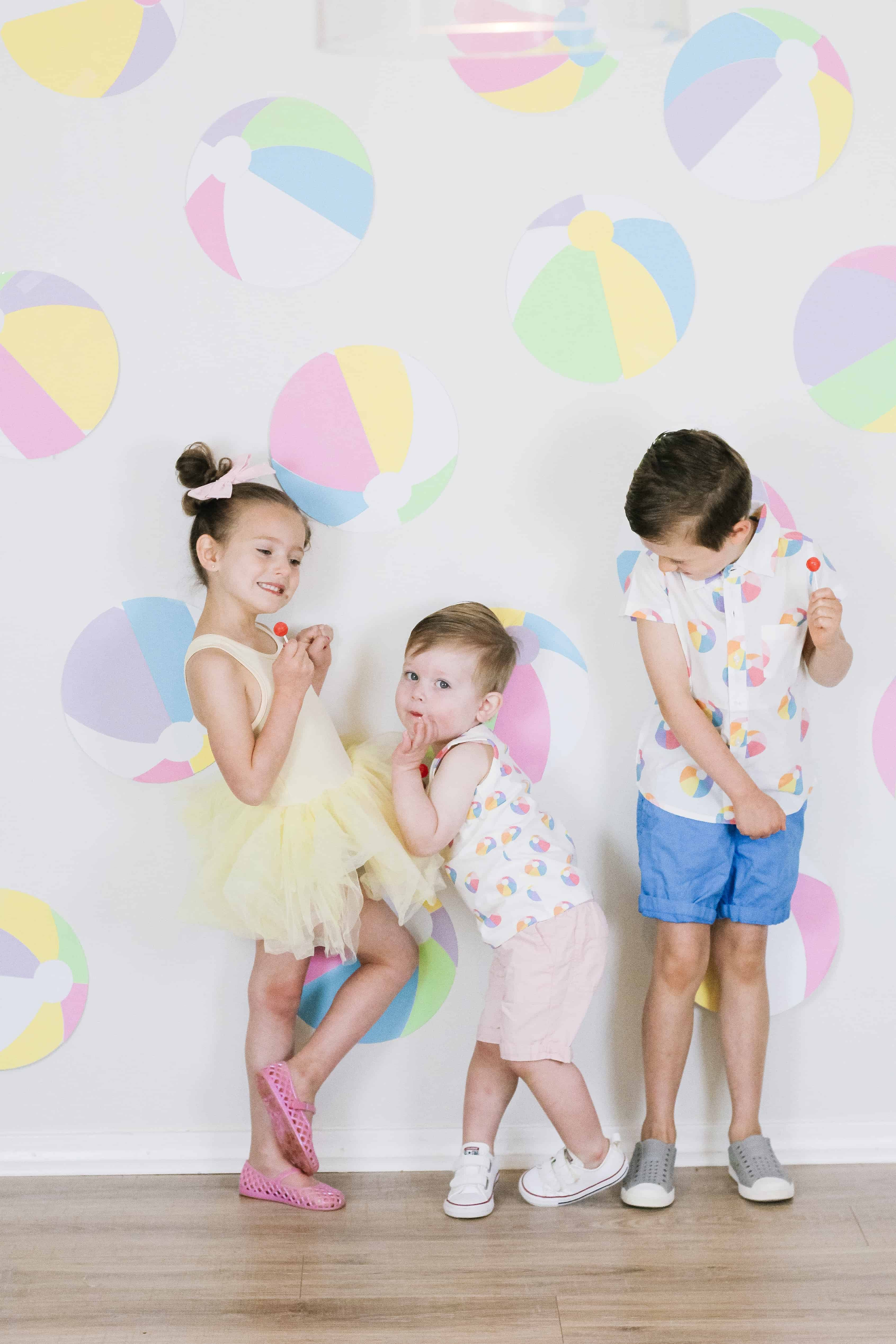 Beach Ball themed sibling outfits