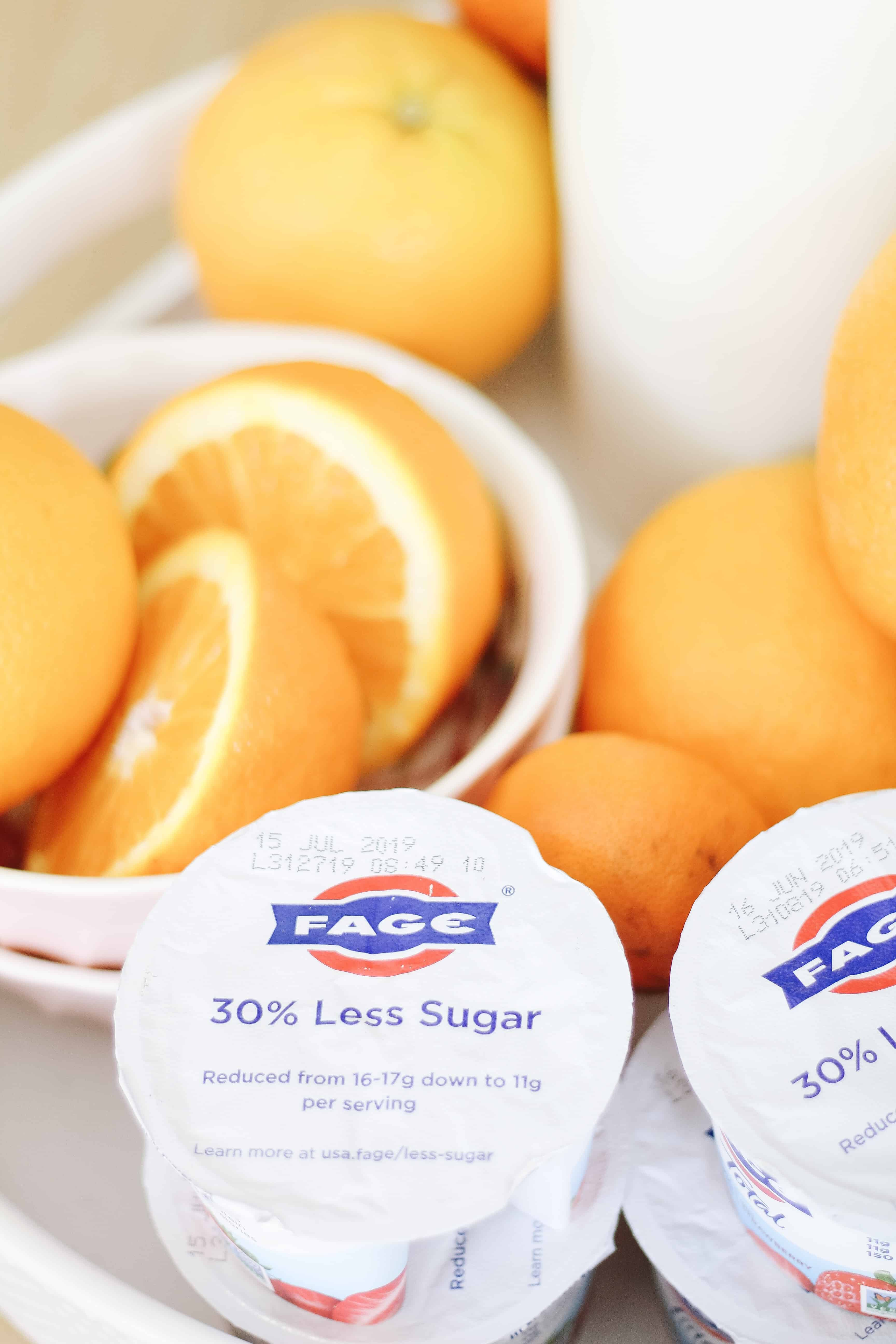 FAGE yogurt next to oranges
