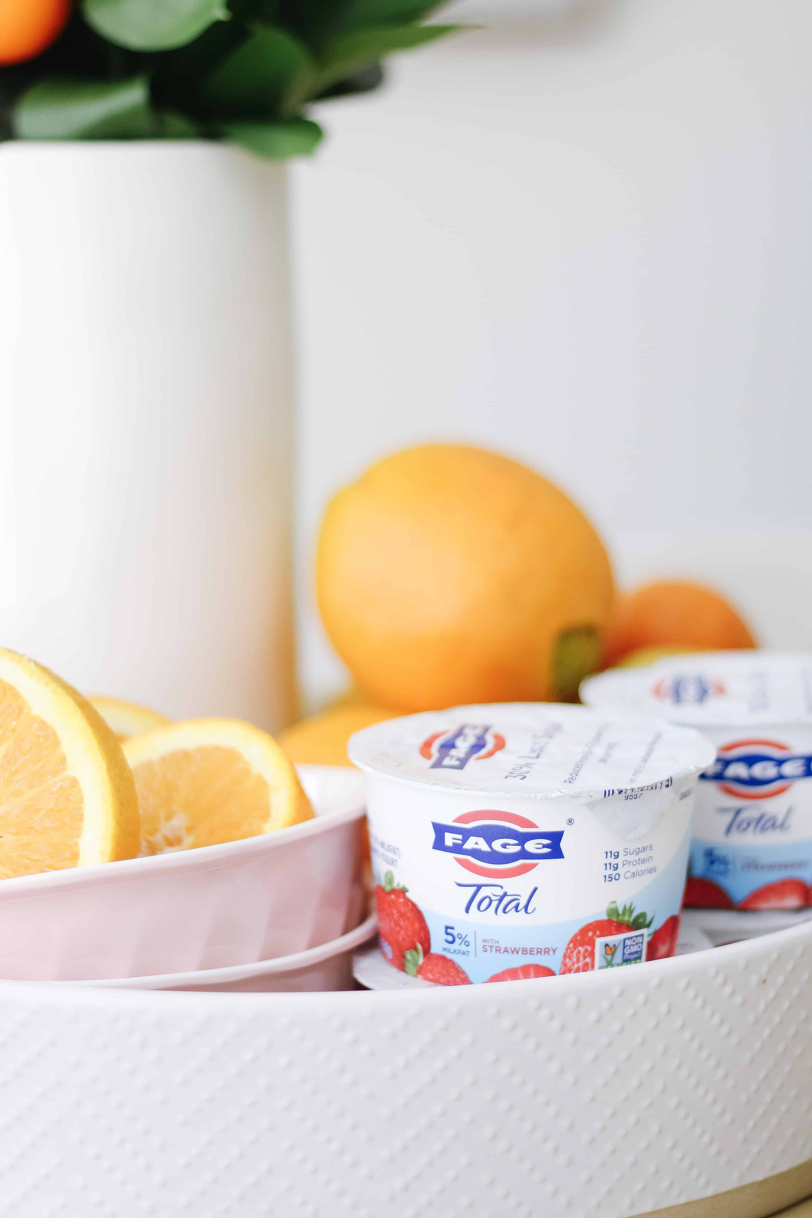 FAGE yogurt next to oranges