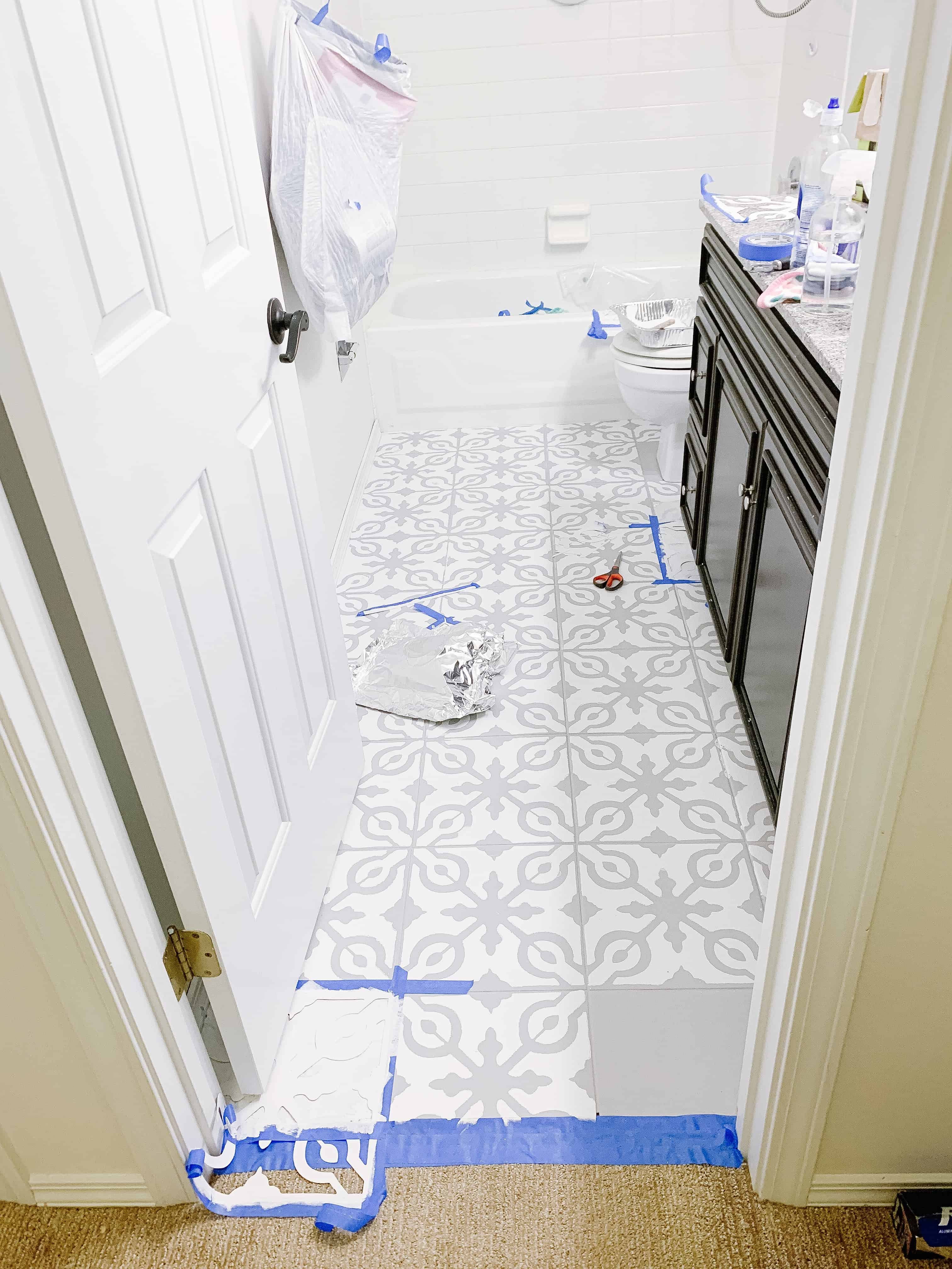 Painted Tile Floors with stencil