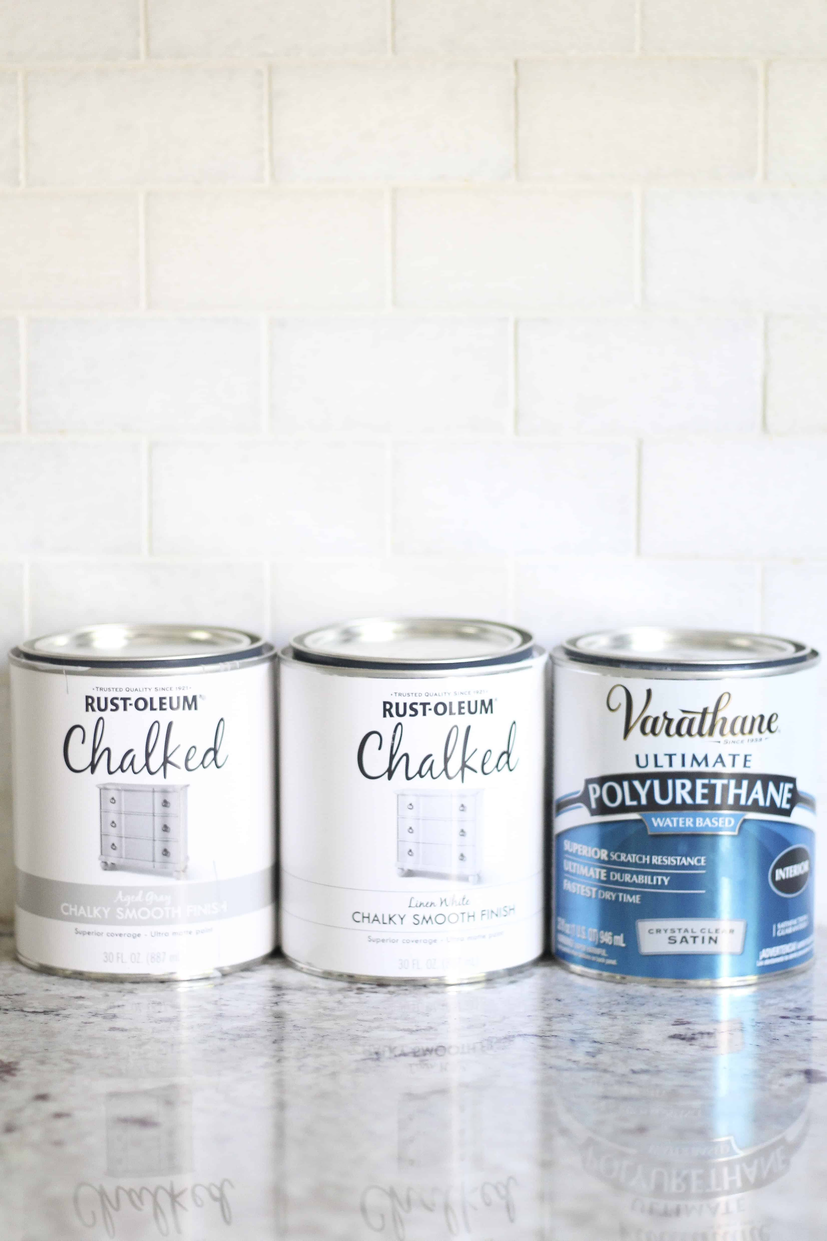 photo of supplies for painting tile floors