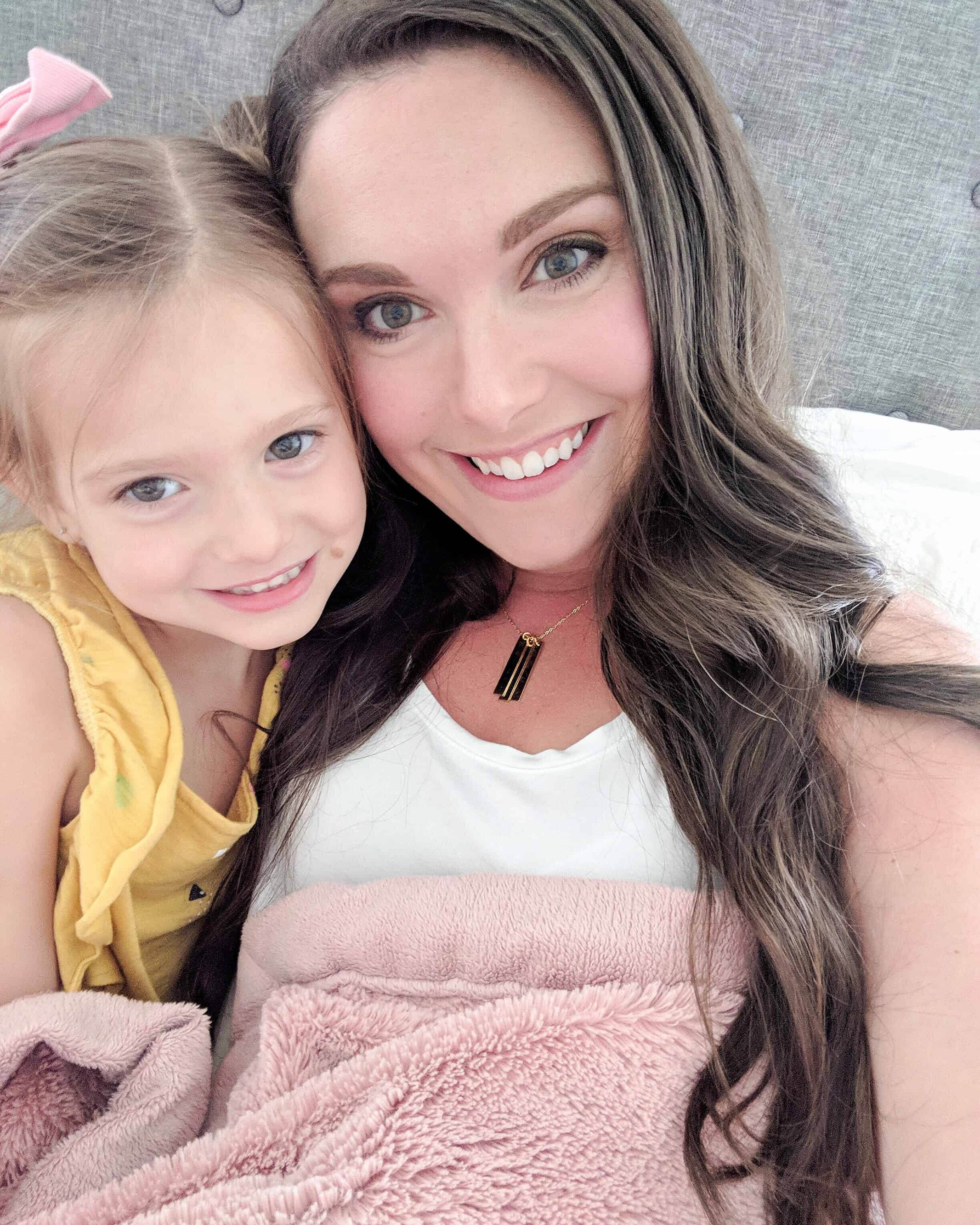 selfie of a mom with toddler girl