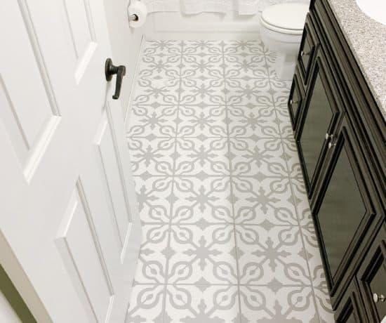 photo of painted tile bathroom floor