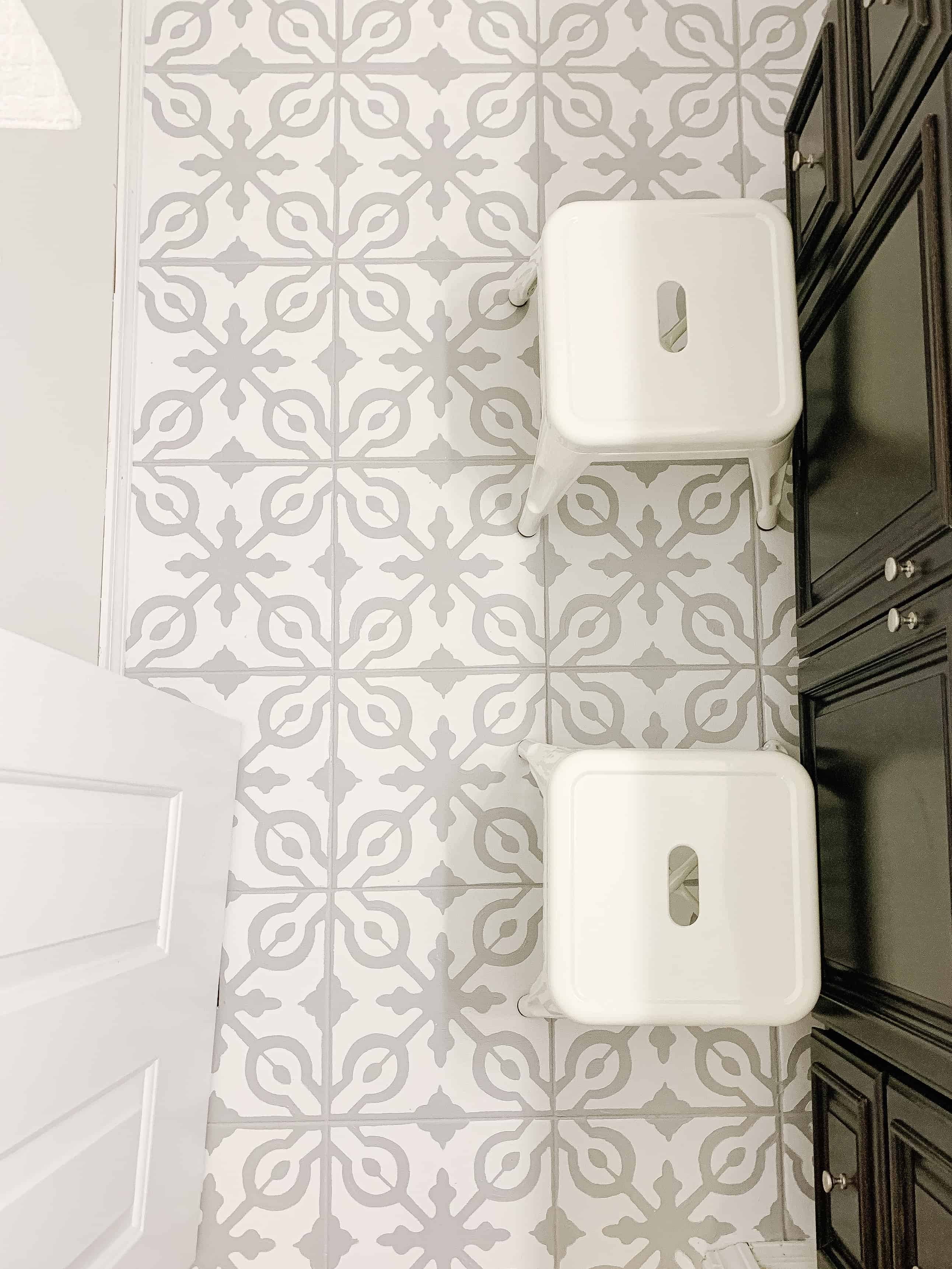 View of white metal stools on bathroom floor