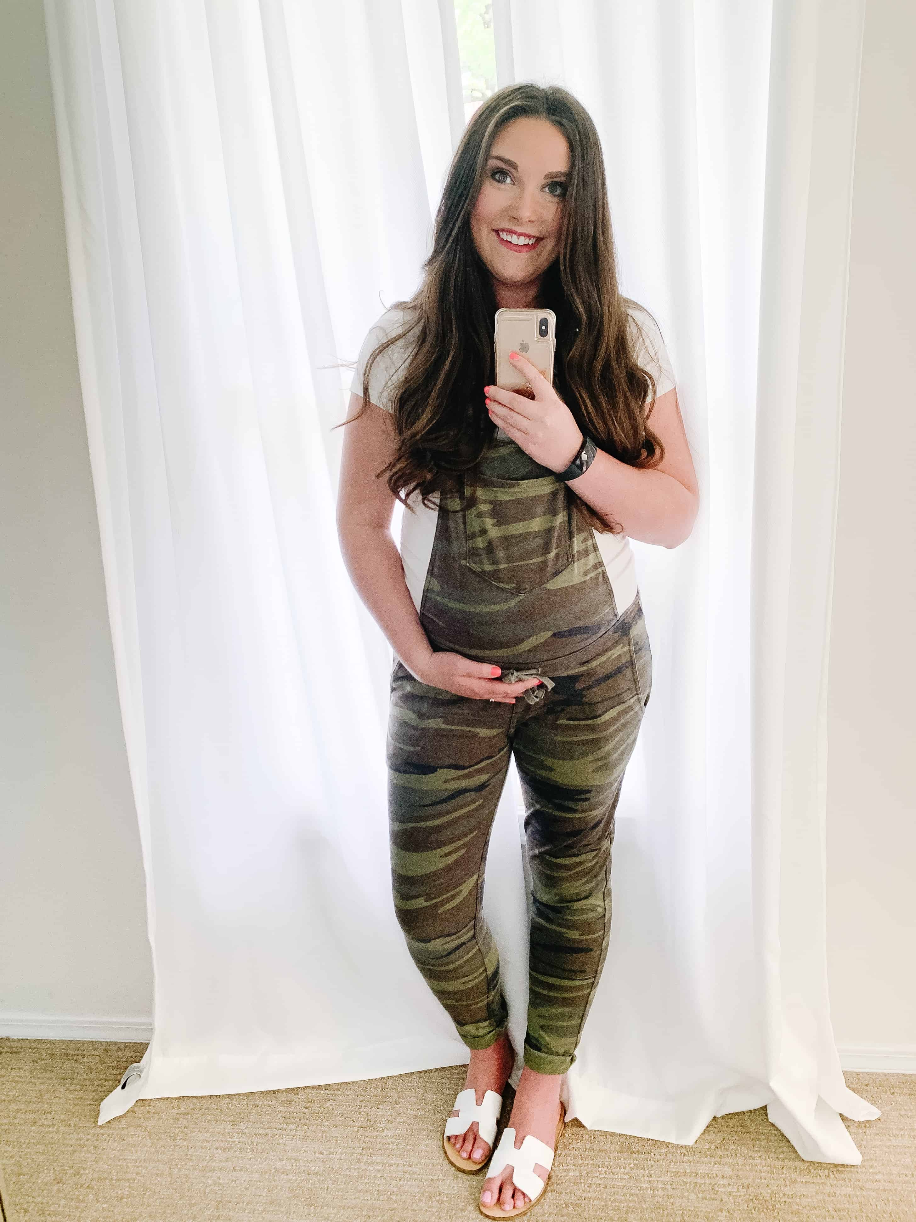 Pregnant mom selfie in overalls