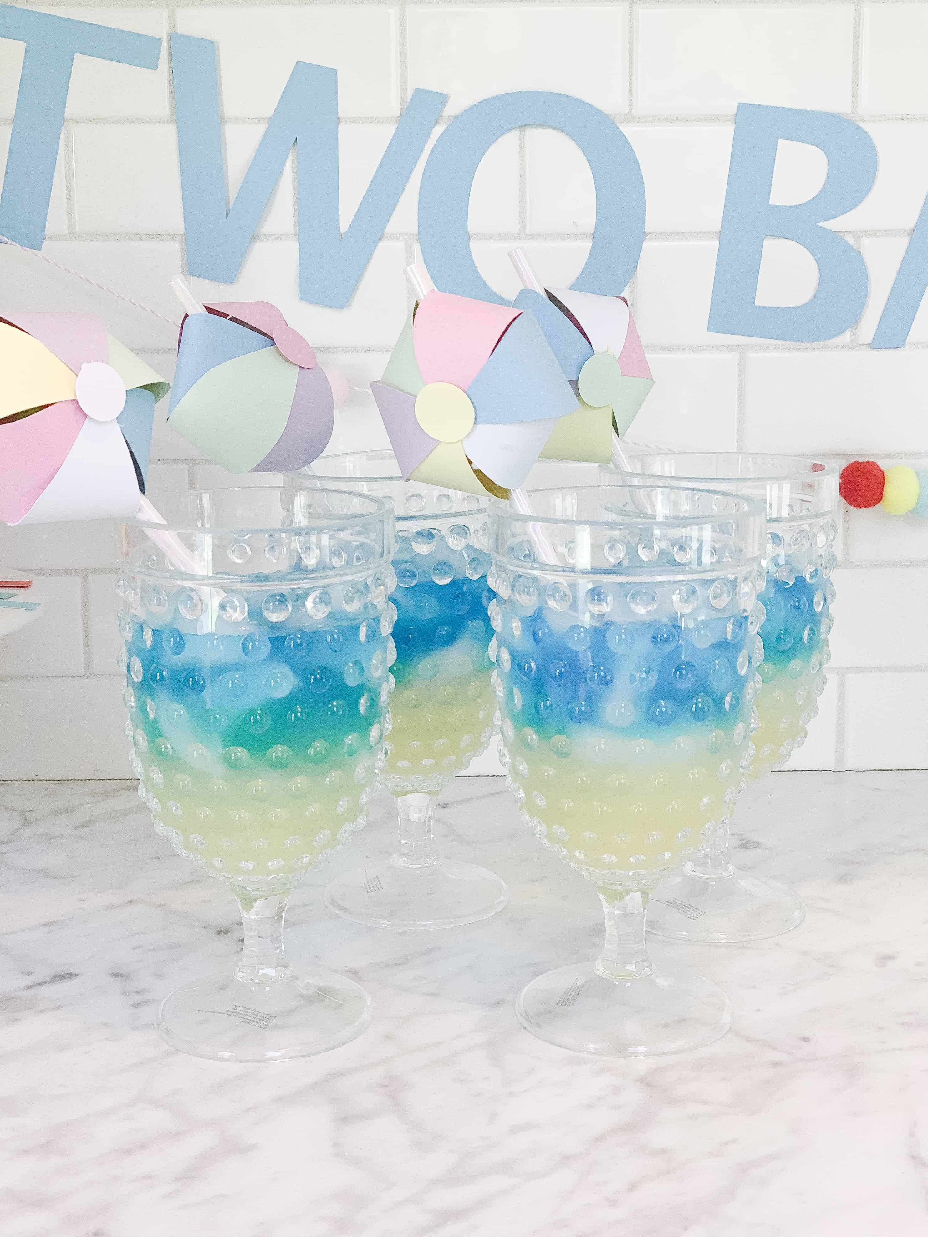 Blue and Yellow Beach themed drinks