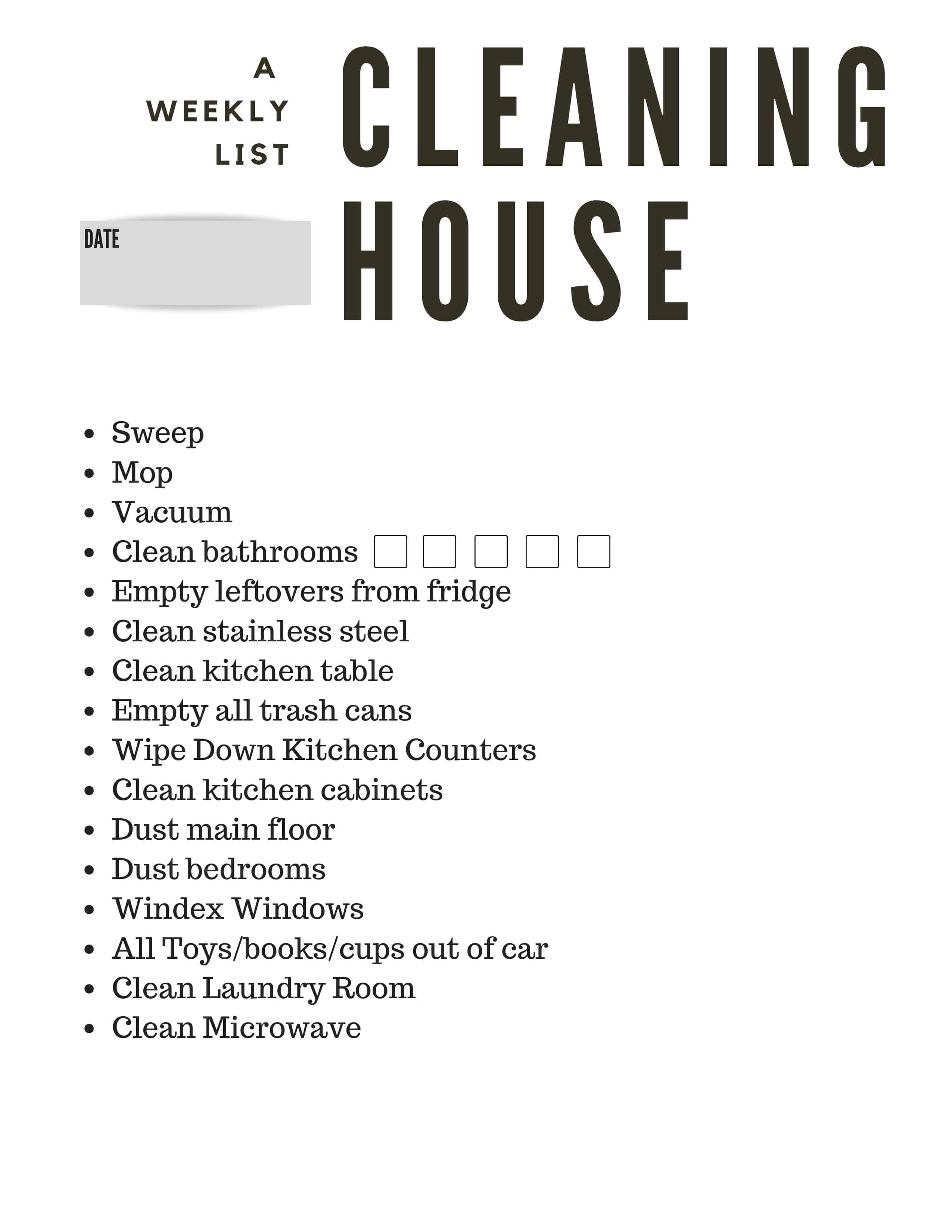 Free printable weekly cleaning list