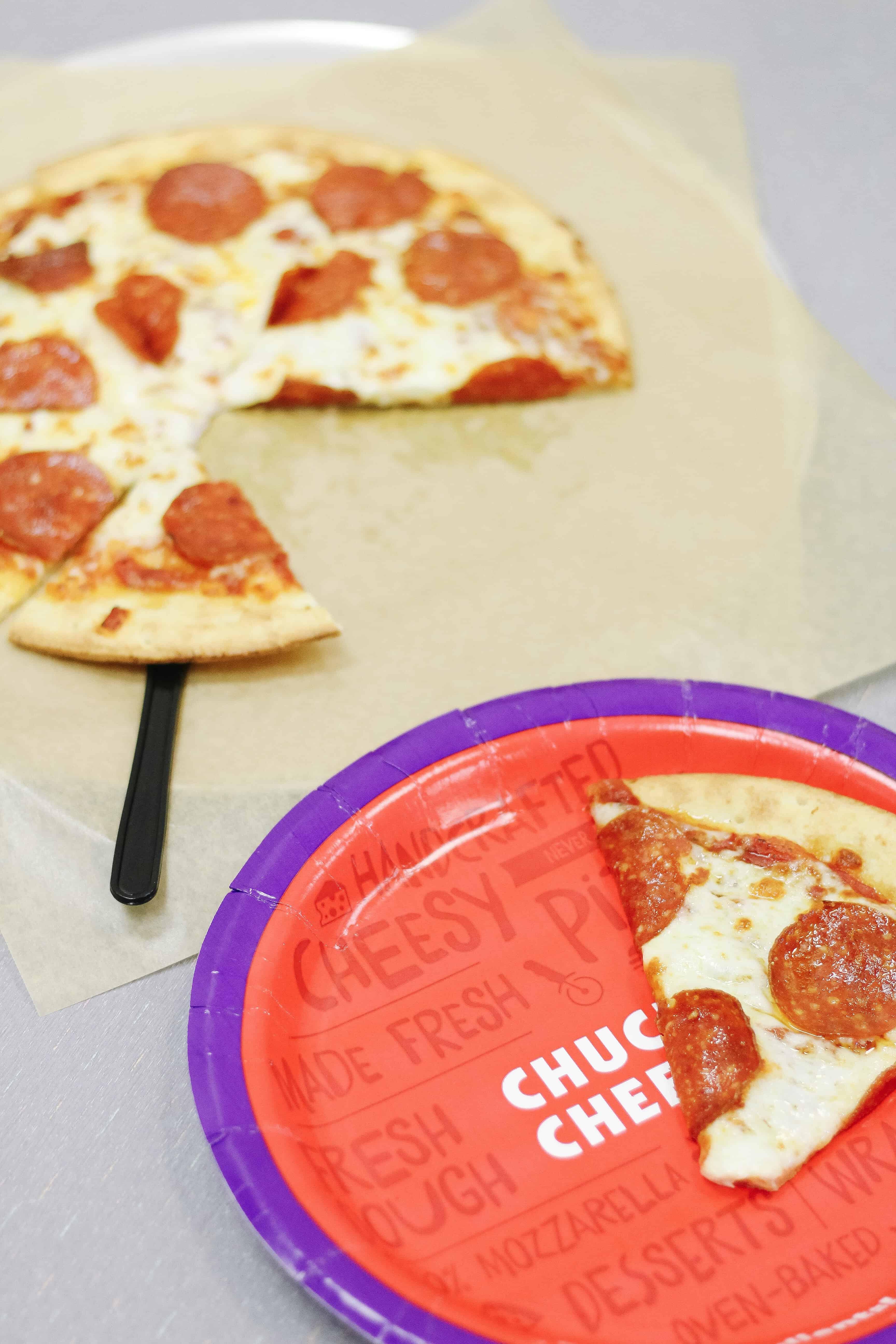 Chuck E. Cheese Caulilflower based crust pizza