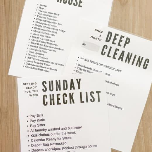 Free printable Cleaning lists