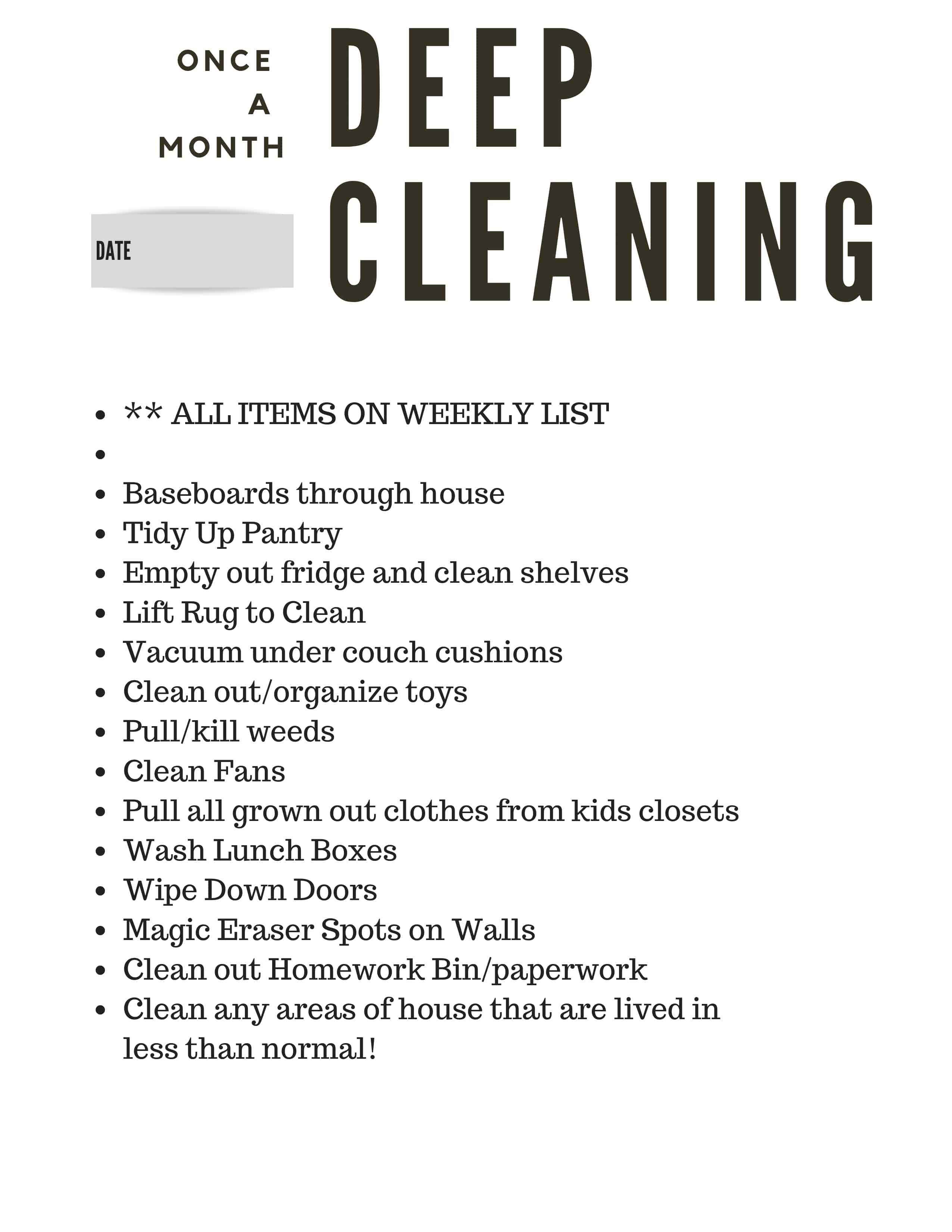 Monthly Deep Cleaning Free Cleaning List
