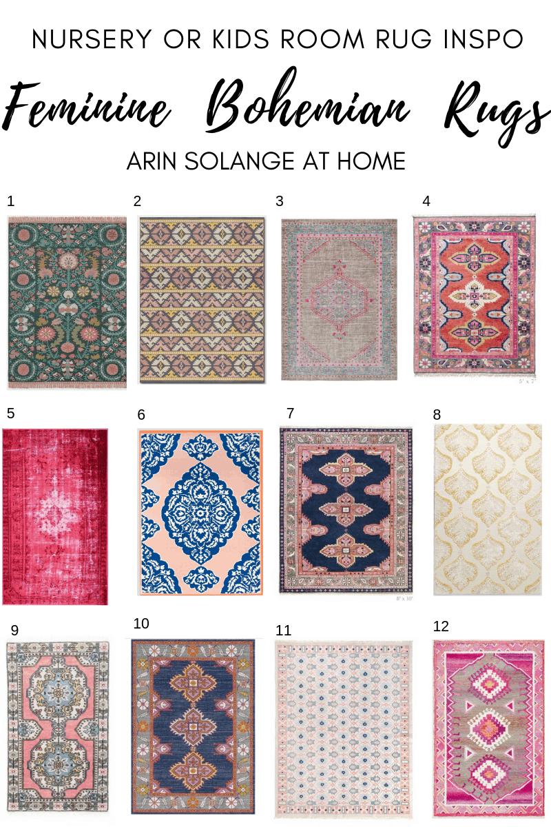 round up of pink feminine bohemian rugs