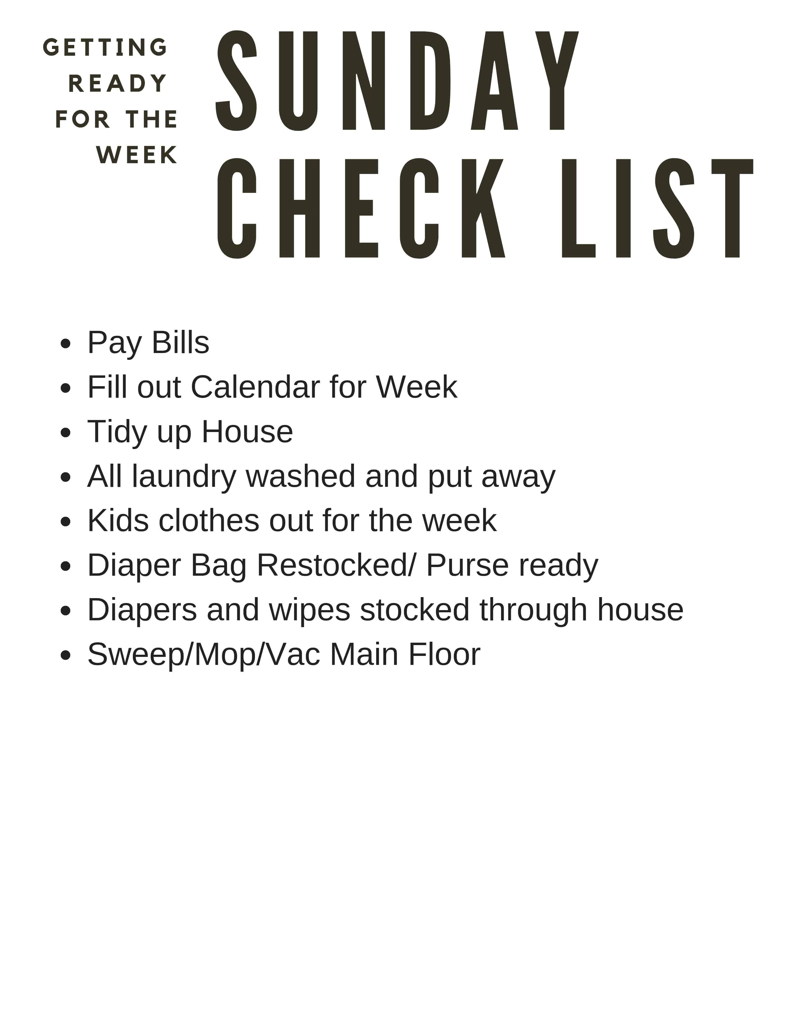 Sunday night prep printable List