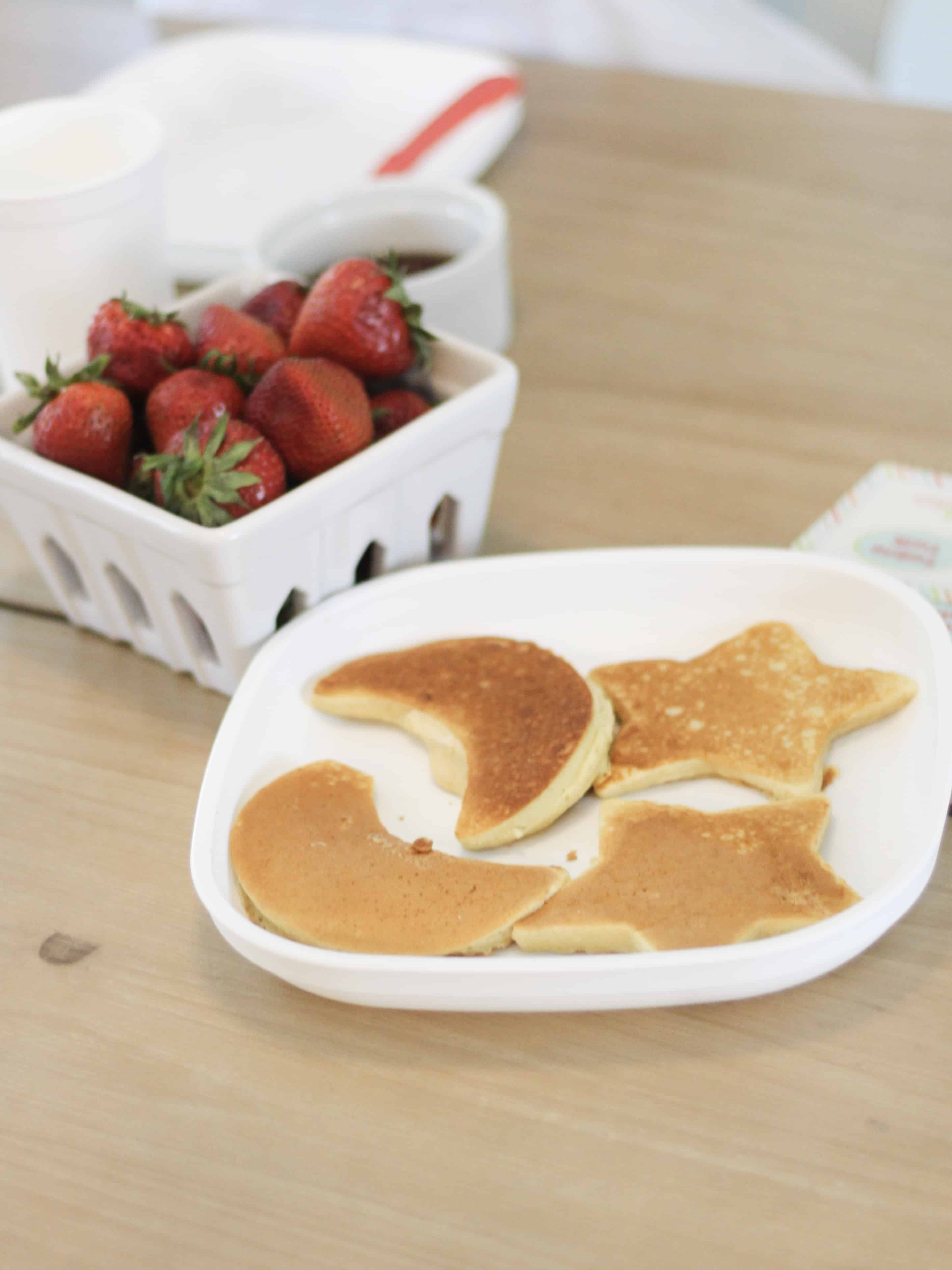star and moon pancakes and strawberries