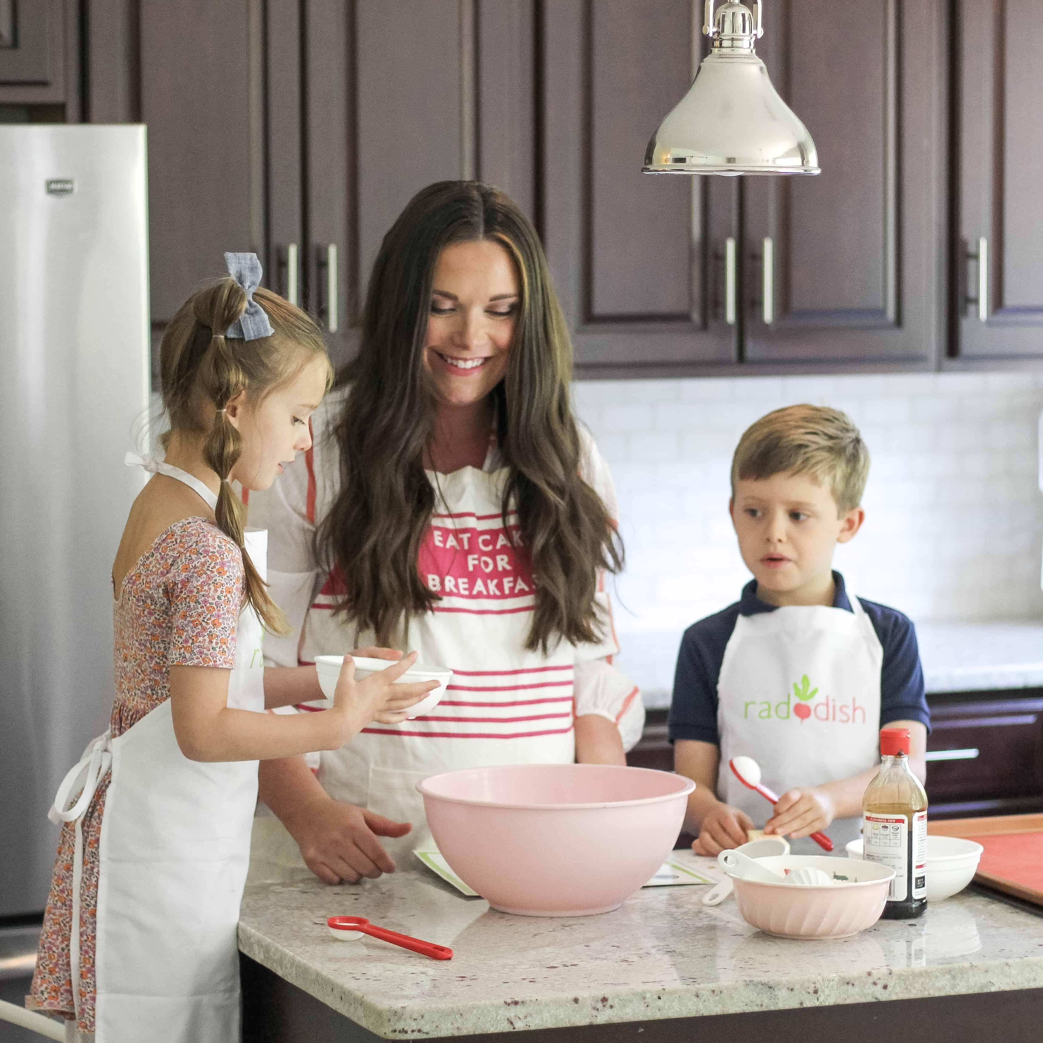 kids and mom cooking raddish kids kit