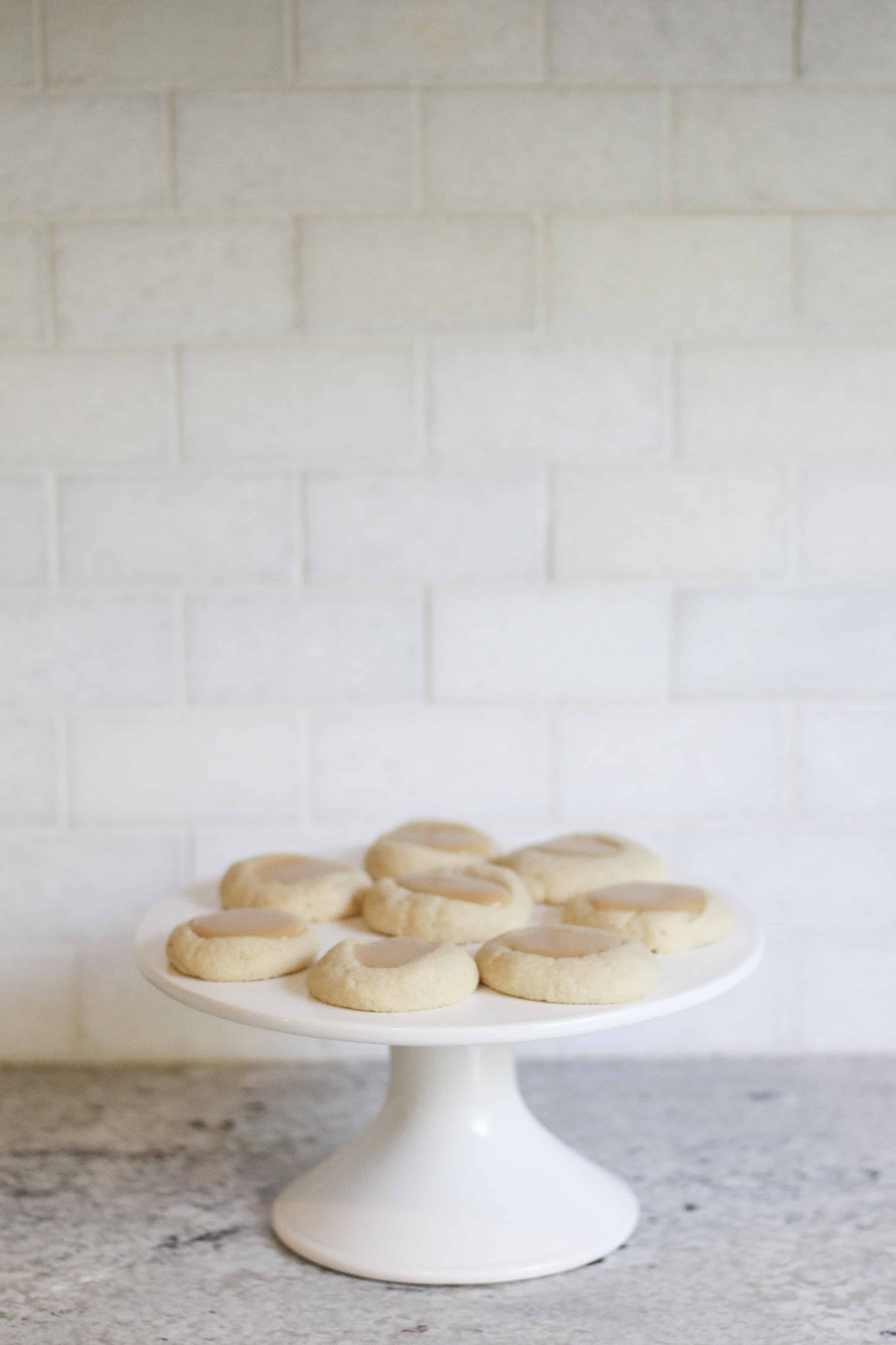 Dulce De Leche cookies on cake stand