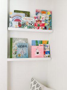 Book shelves in coat closet Book Nook