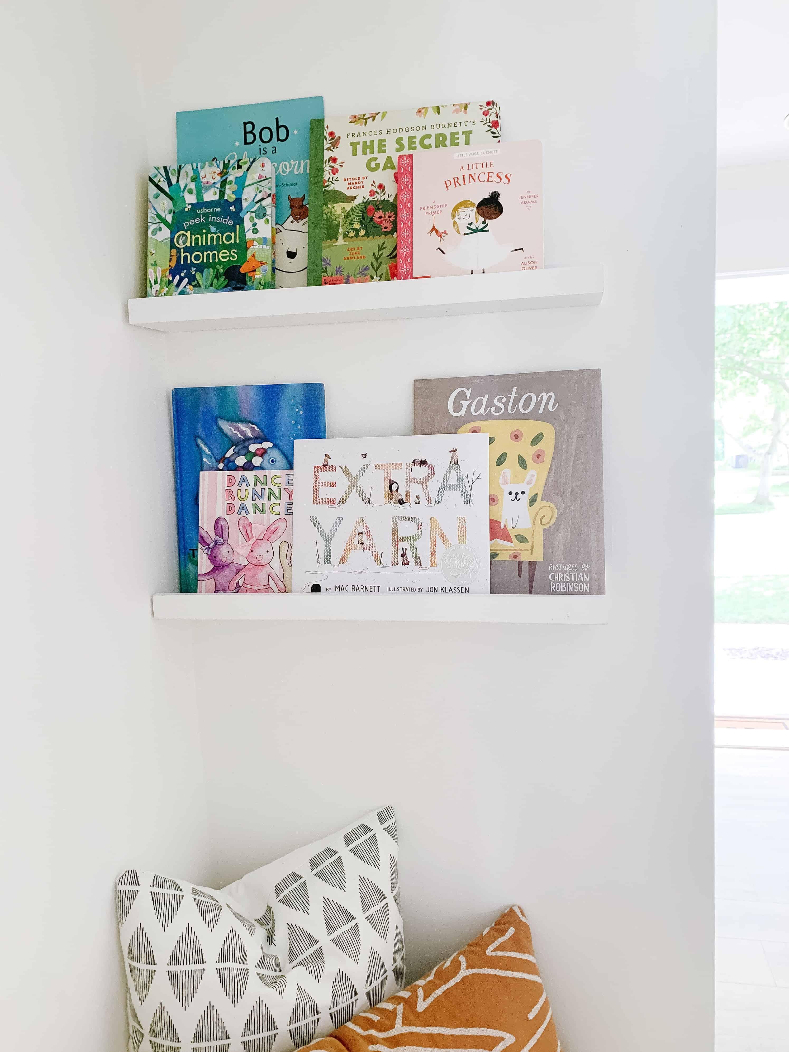 book ledges in closet book nook