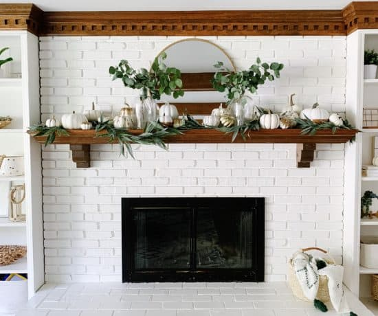 white fireplace with modern fall decor