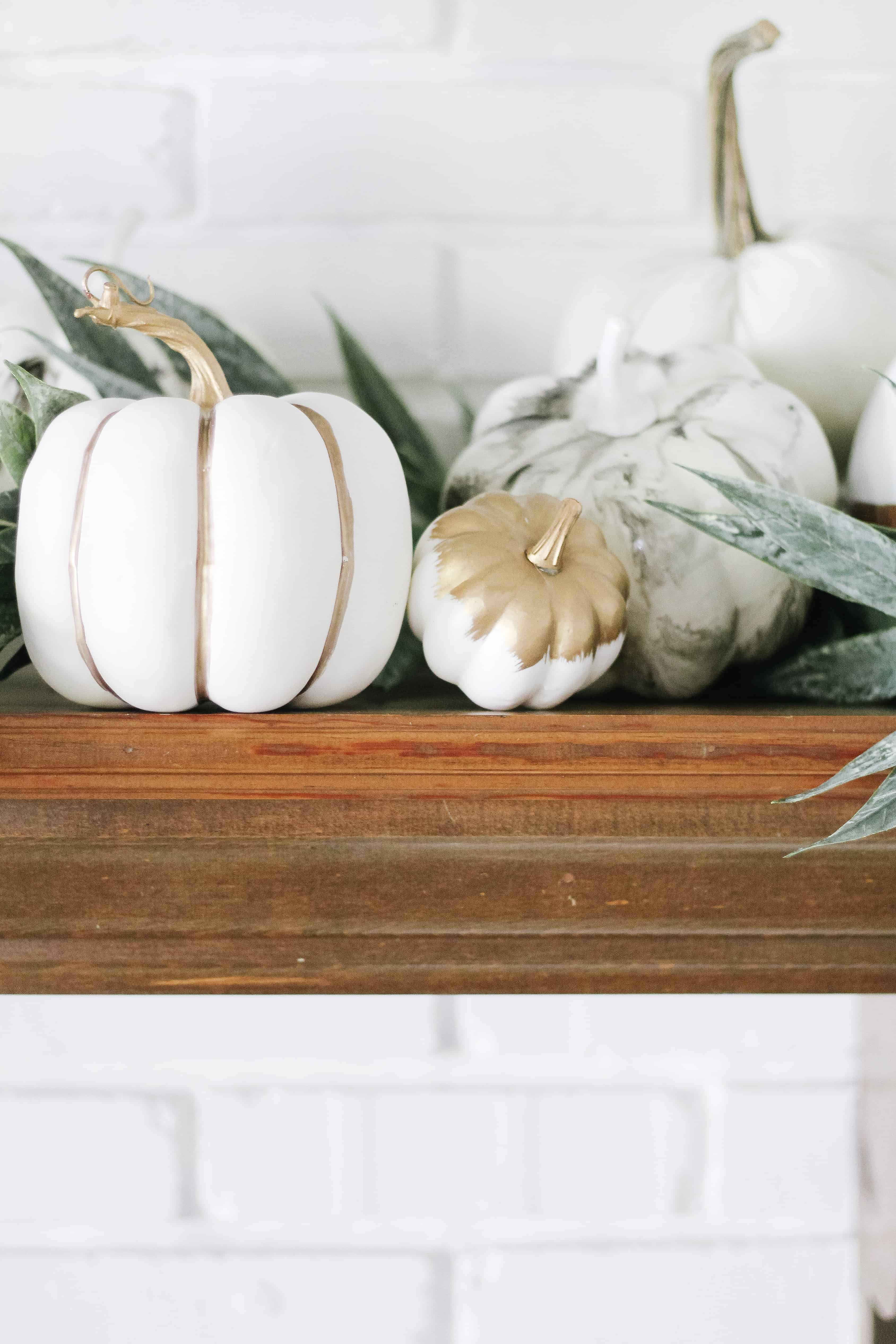 White Pumpkins on mantle