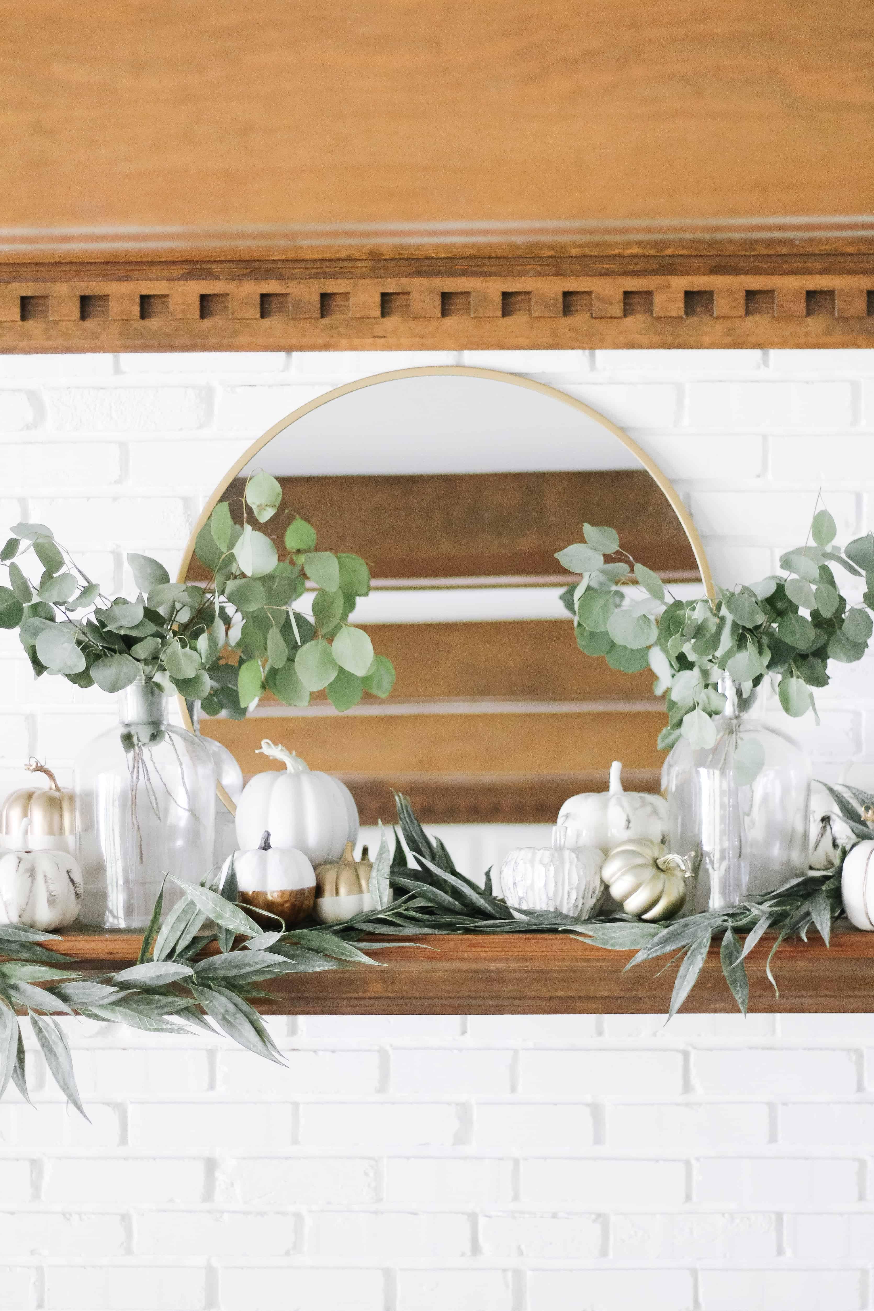 Modern Neutral fall mantle decor