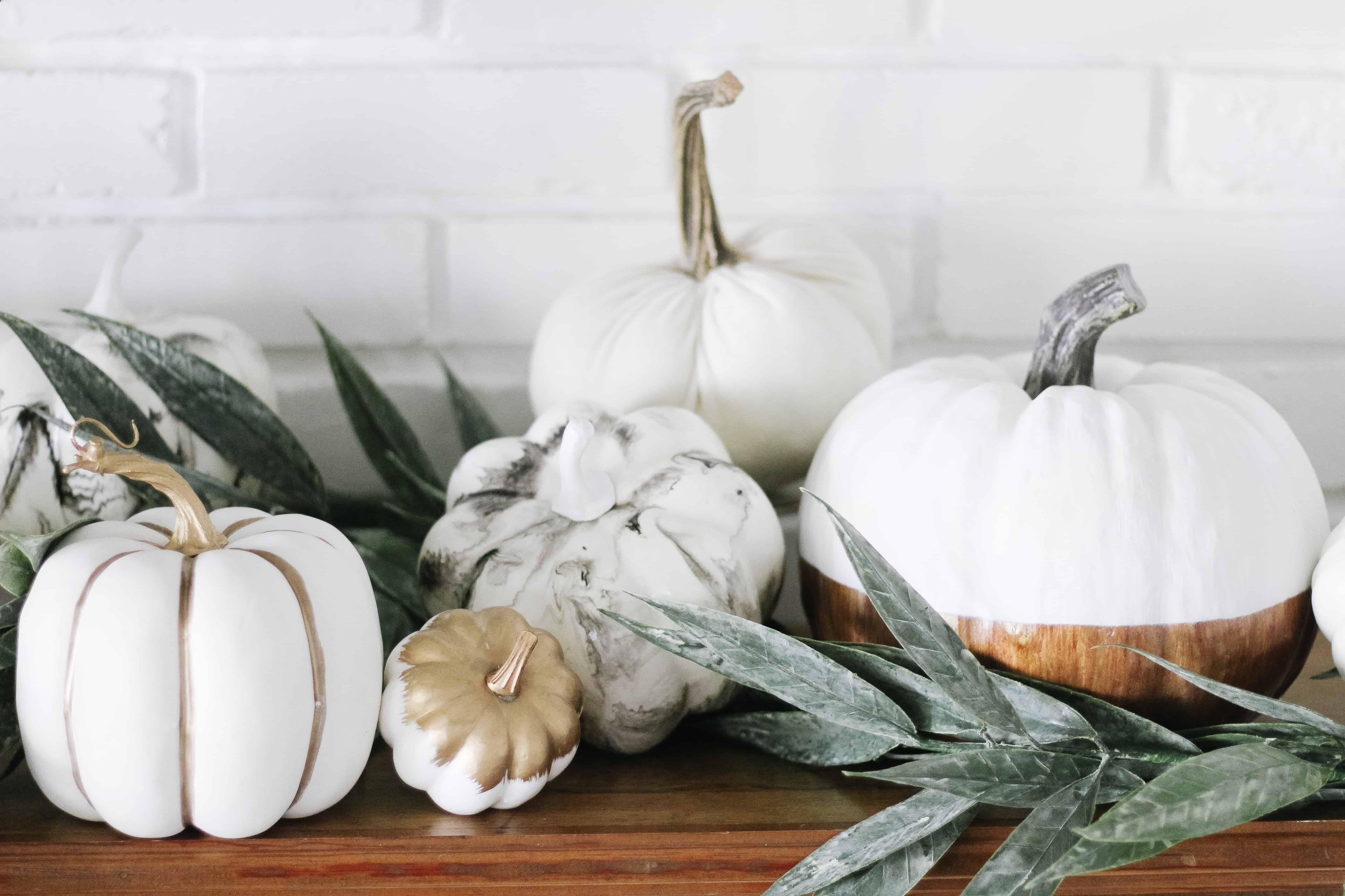 neutral pumpkins on mantle