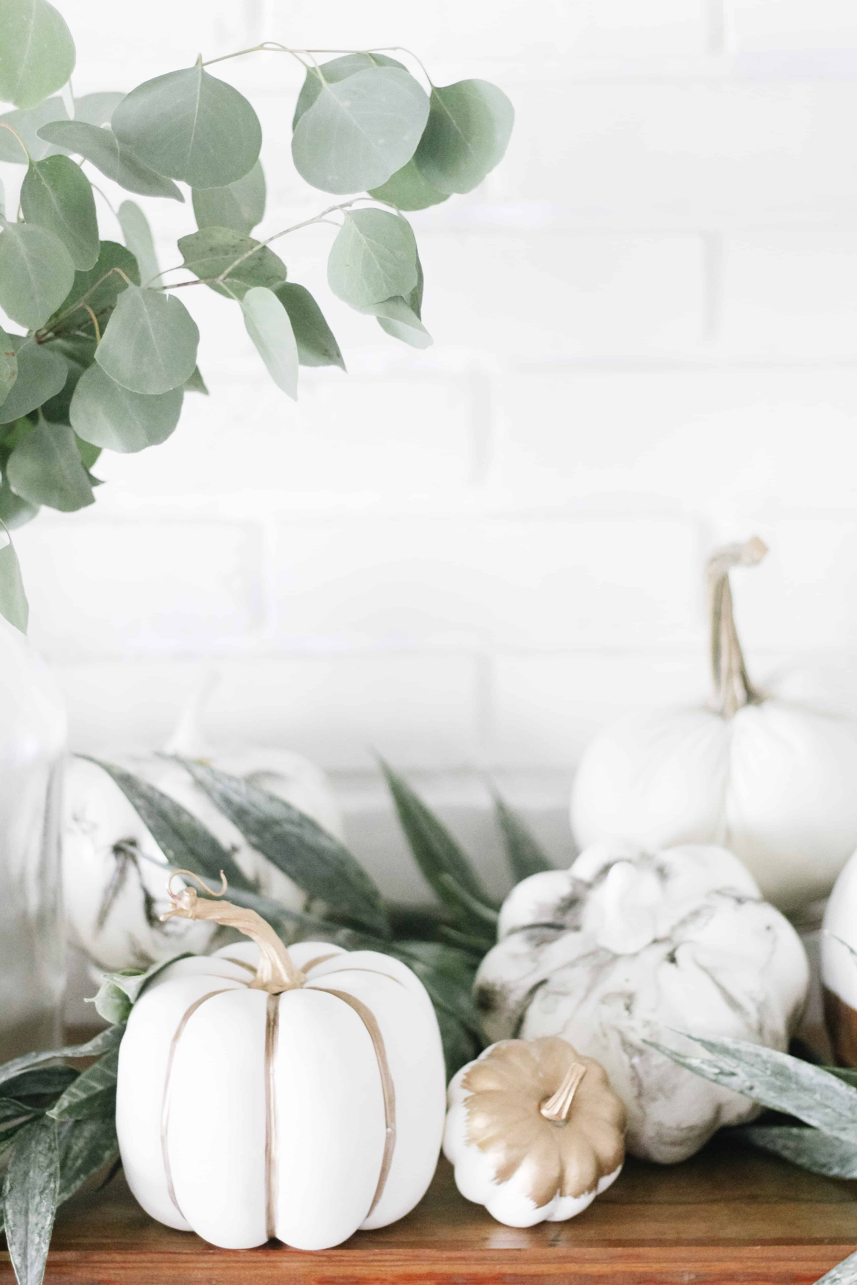 neutral fall decor on mantle