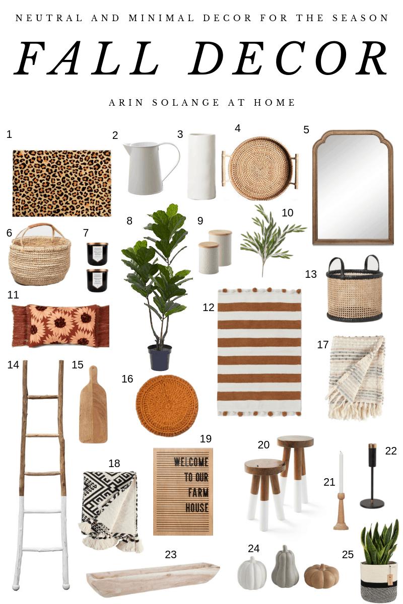 Neutral, minimal fall decor for modern homes
