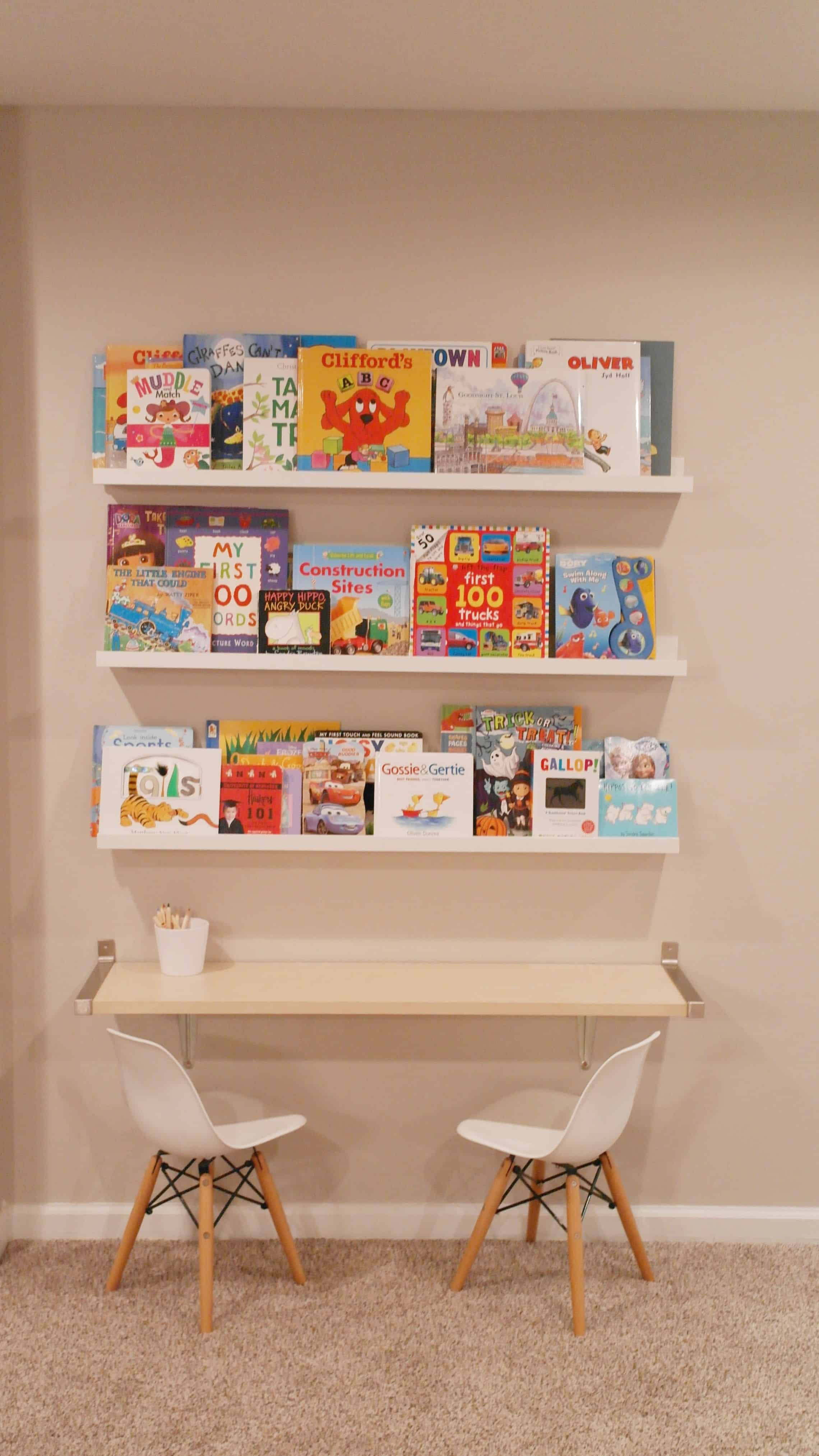 Book ledges in playroom