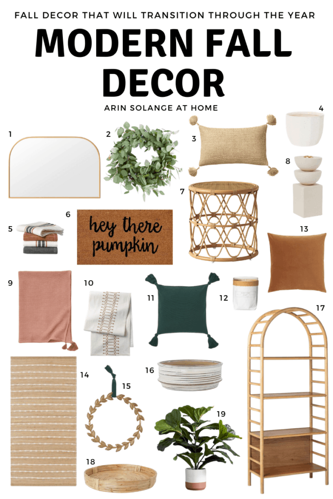 round up of modern fall decor