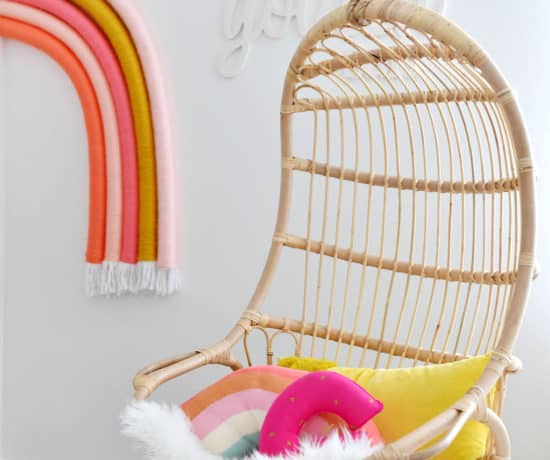 serena and lily hanging chair and wall rainbow