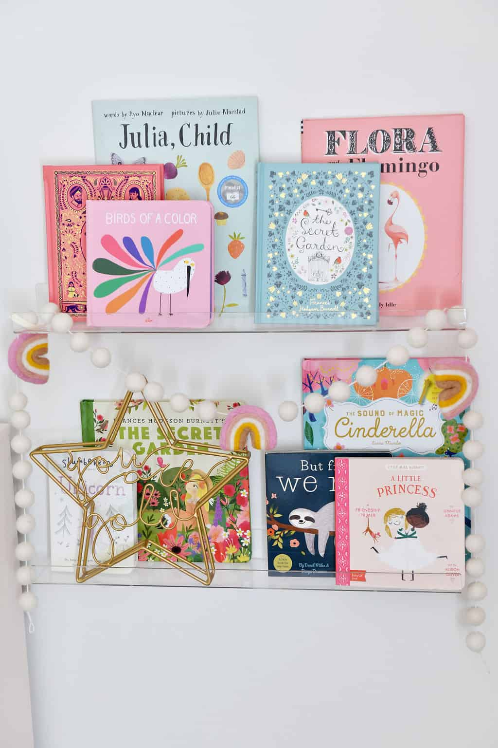 Clear book shelves in nursery