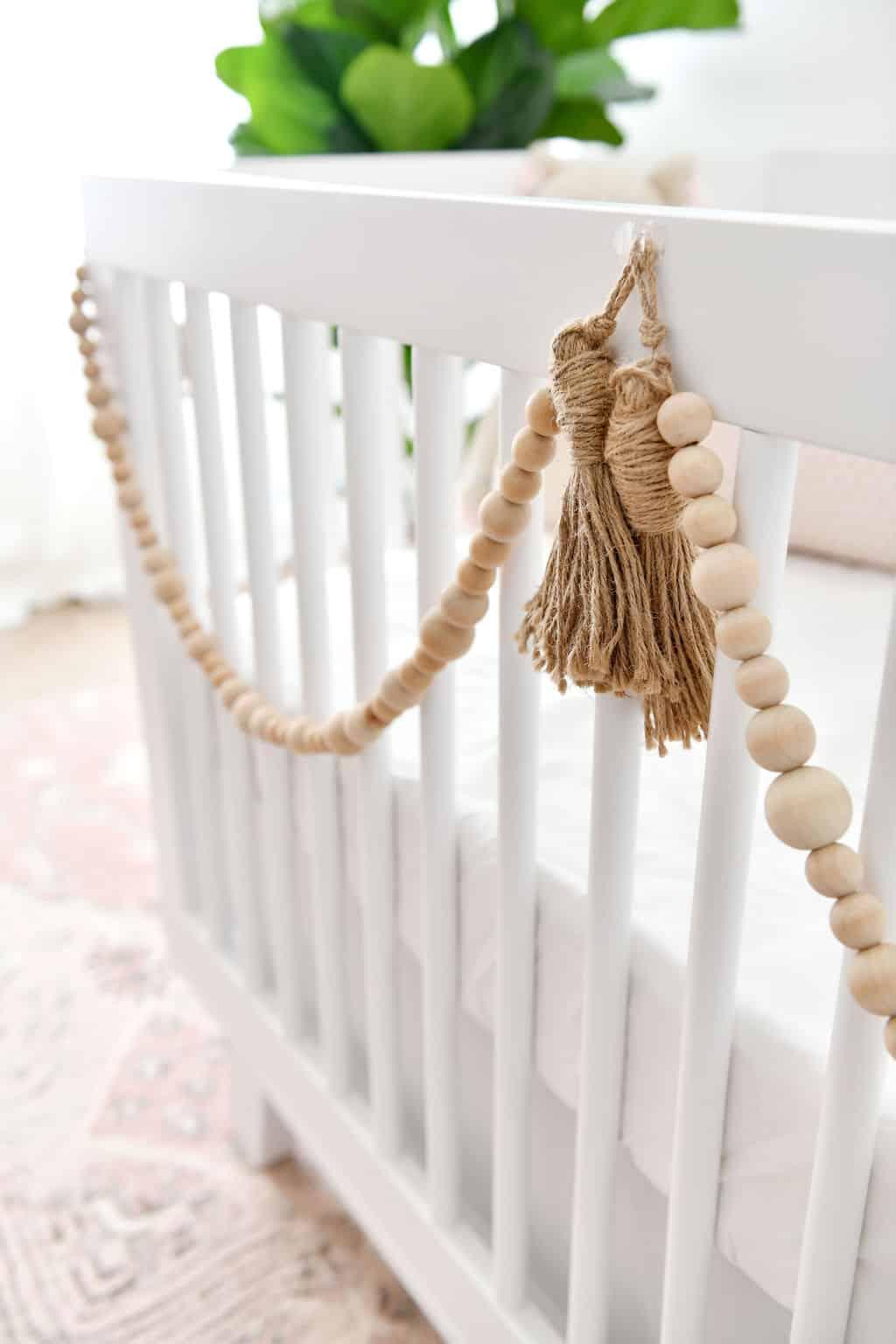 Wood beads on crib