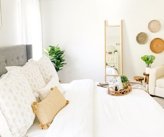 Guest bedroom with Serena and Lily bedding