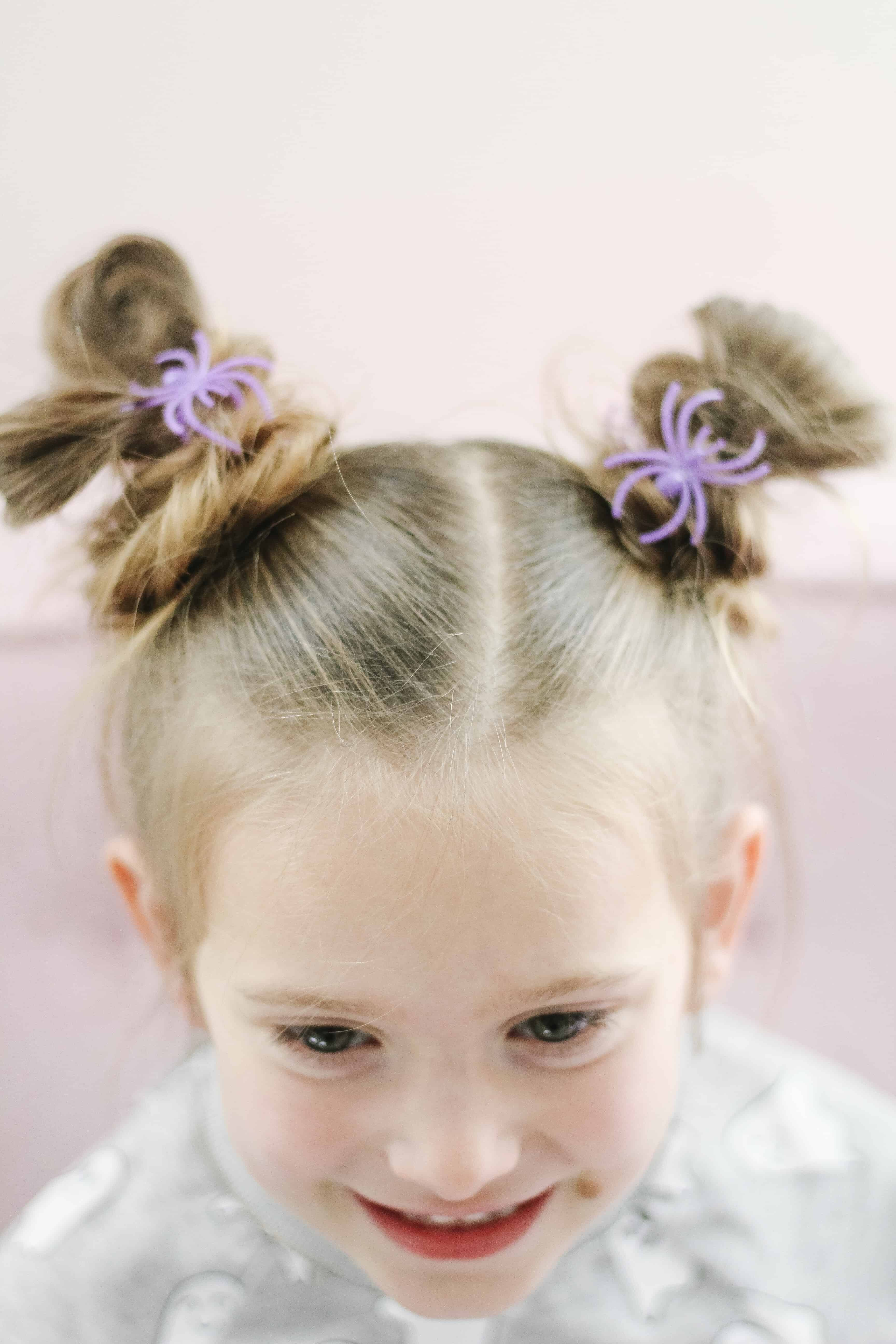 Halloween Piggy Bun hair with spiders
