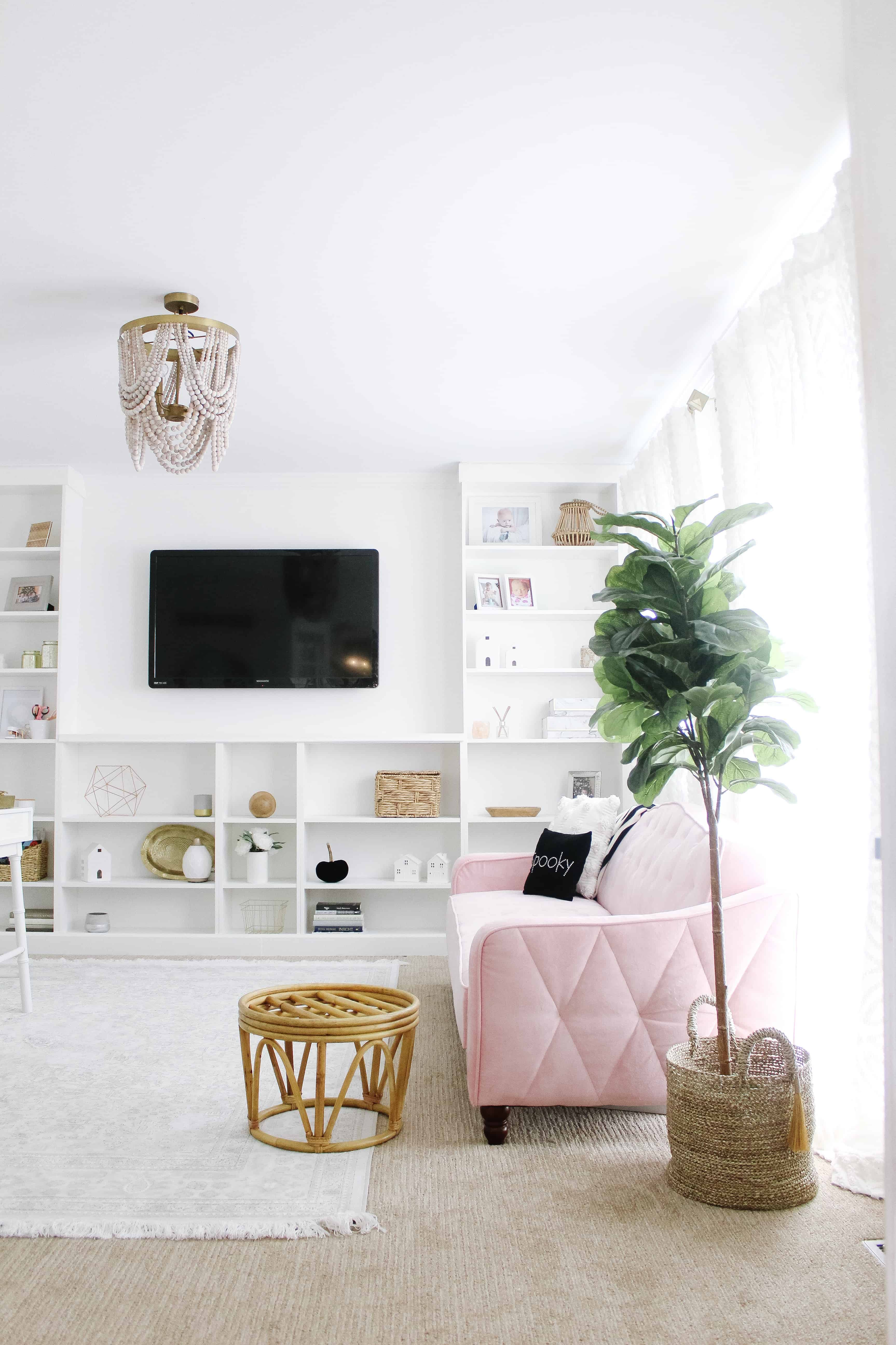 home office with pink couch
