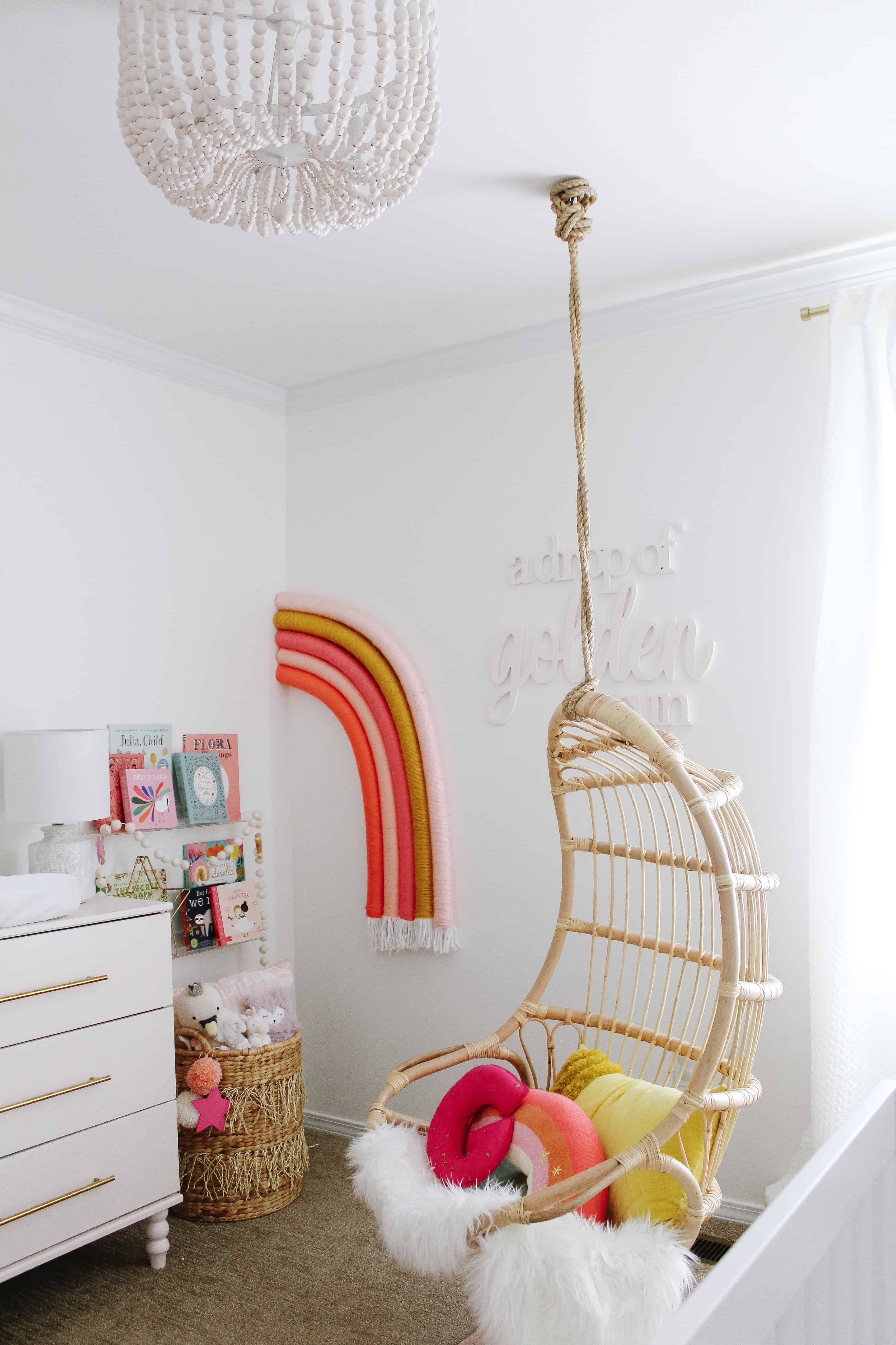 Hanging Serena and Lily Chair with Wall Rainbow
