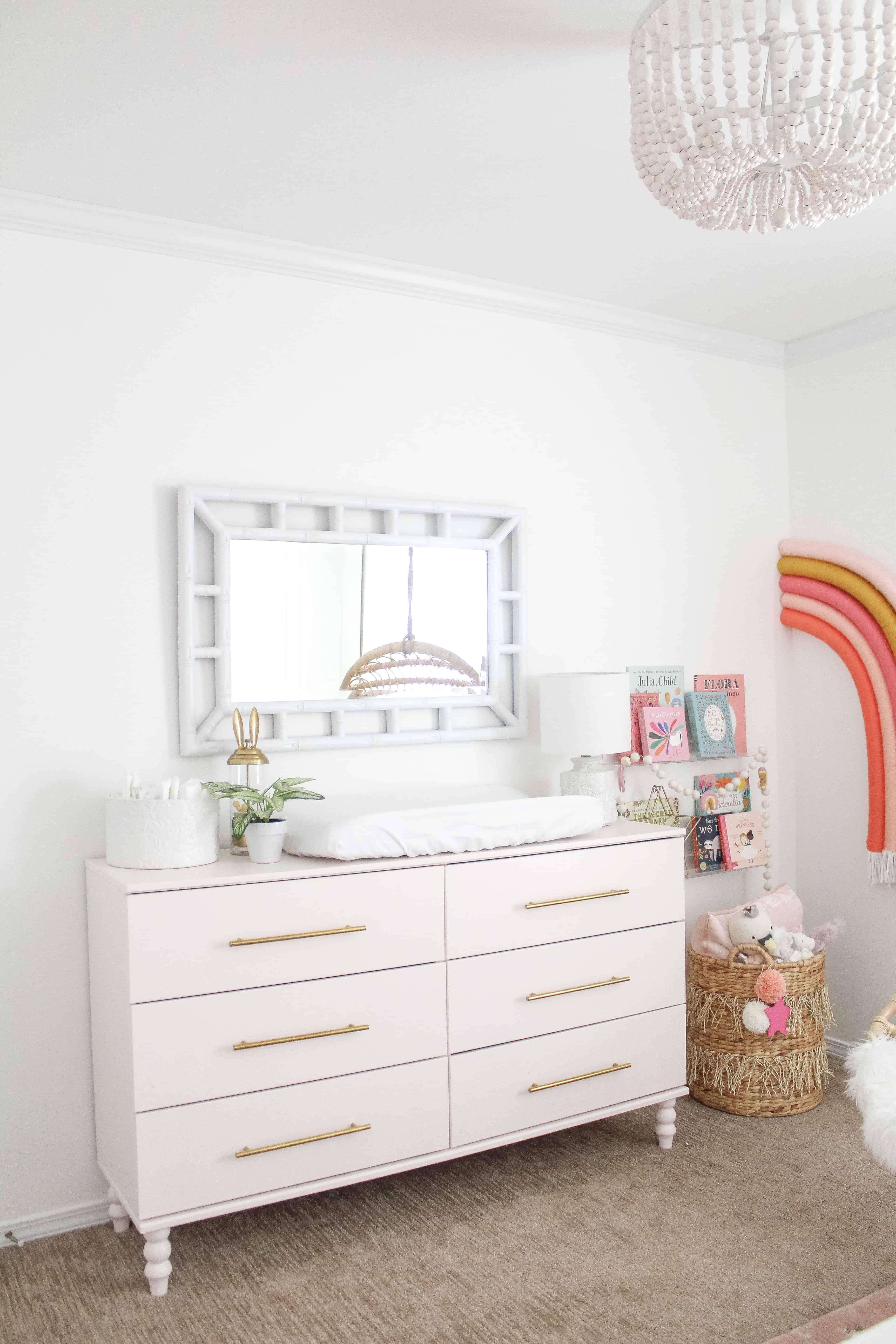 pink Ikea dresser in nursery