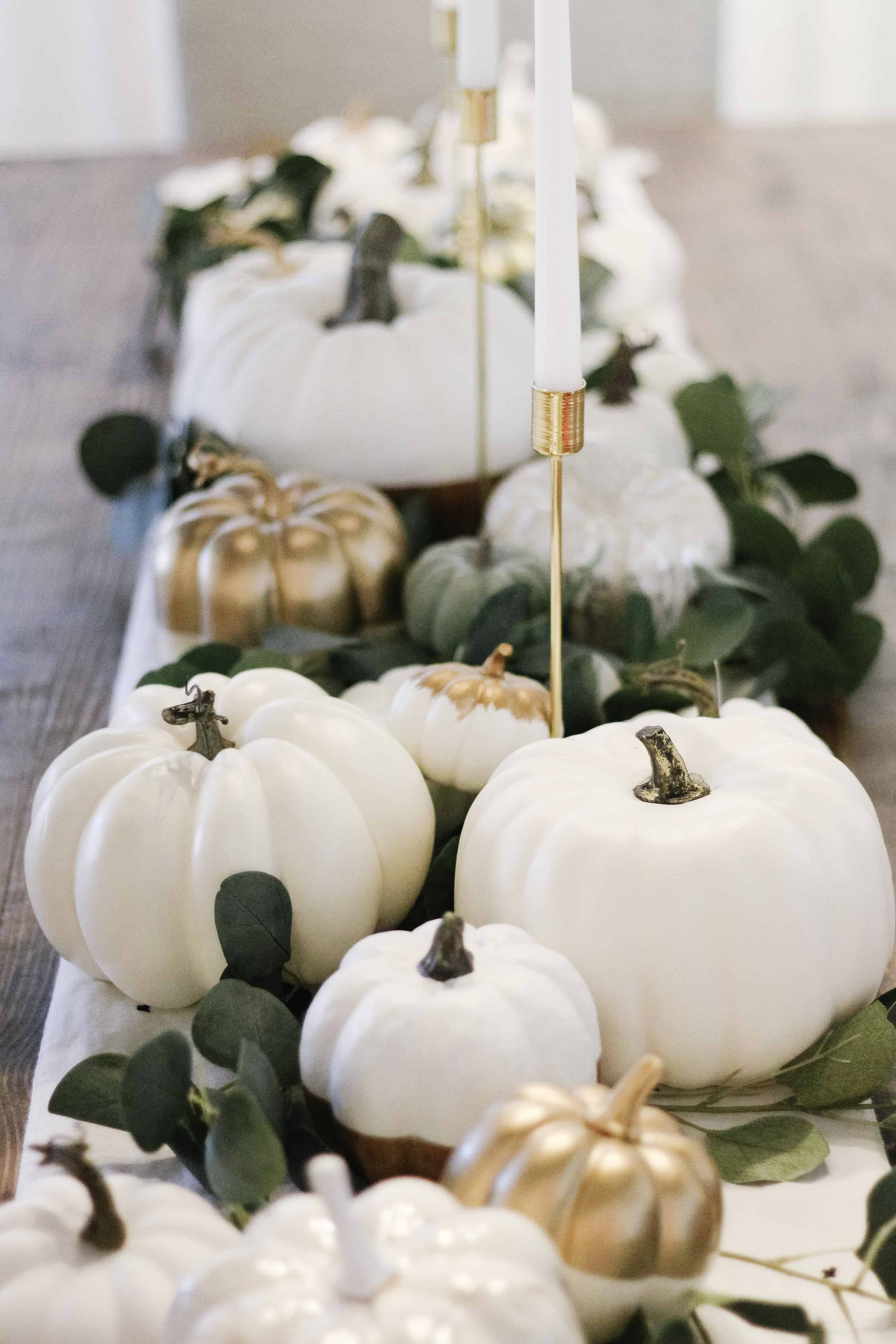 White pumpkin tablescape