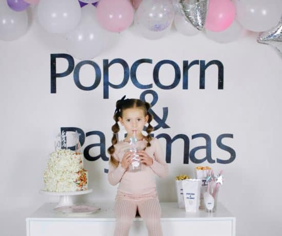 Popcorn and pajamas birthday party