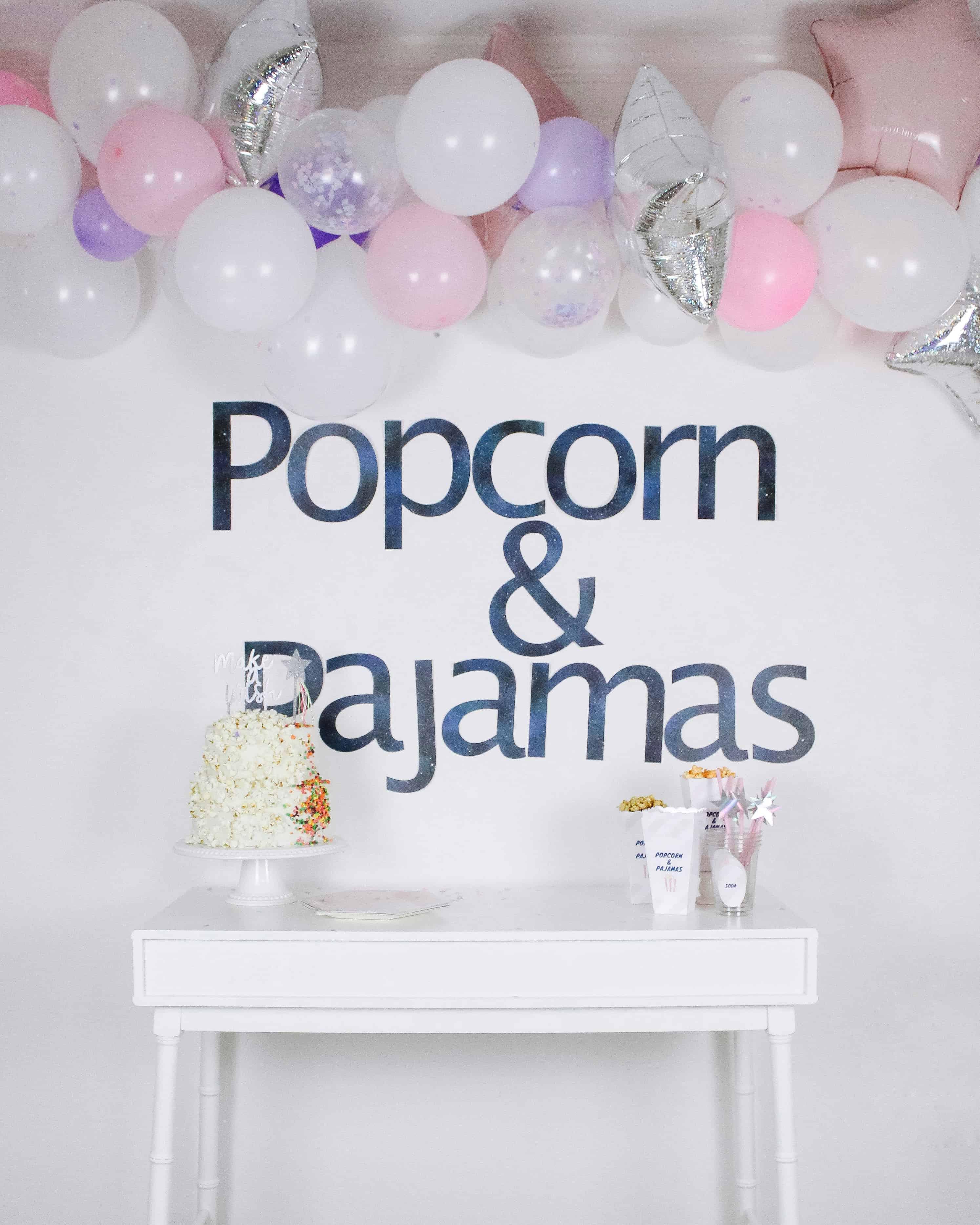 Popcorn and Pajamas Birthday Party