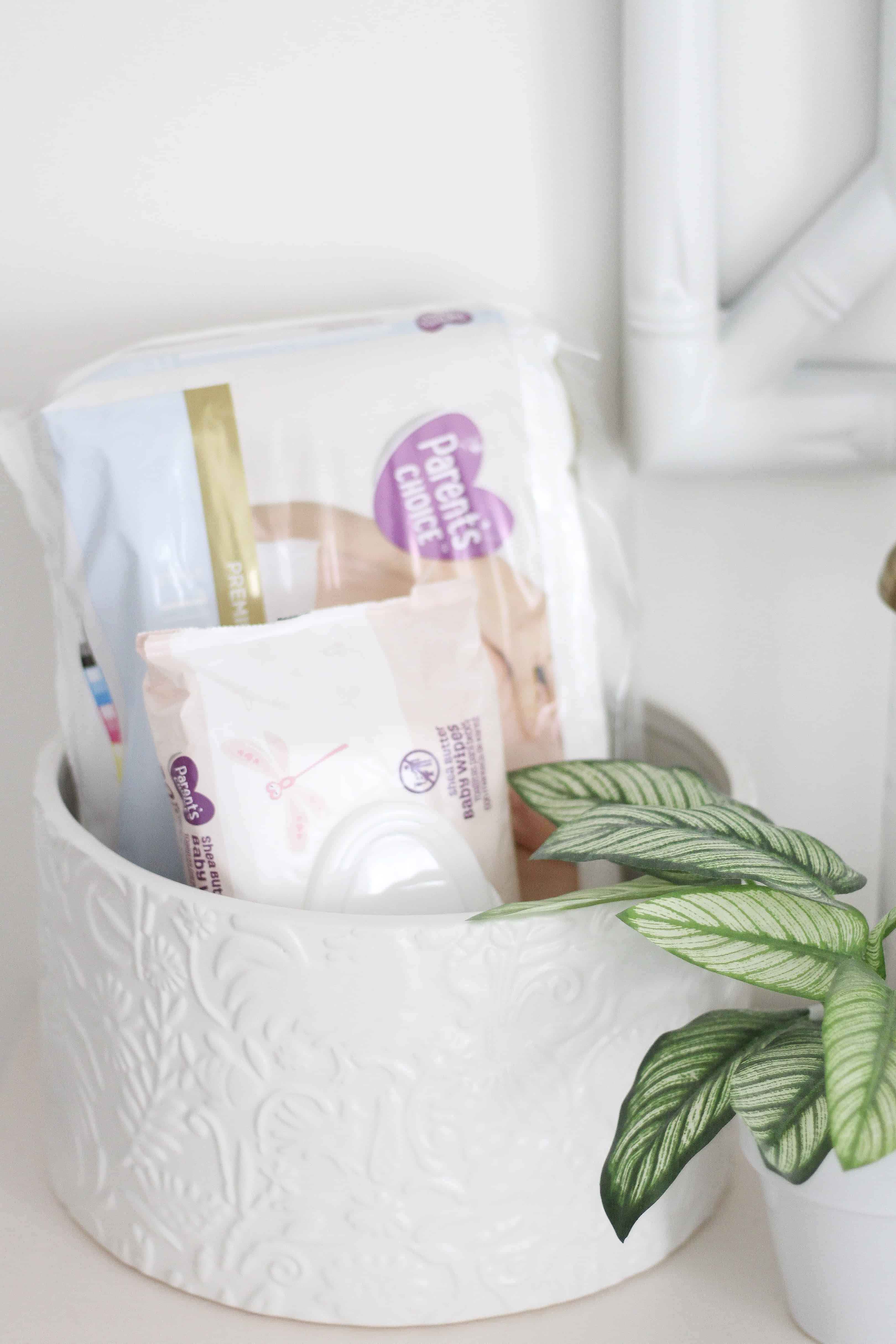 Parents Choice Diapers and wipes in nursery