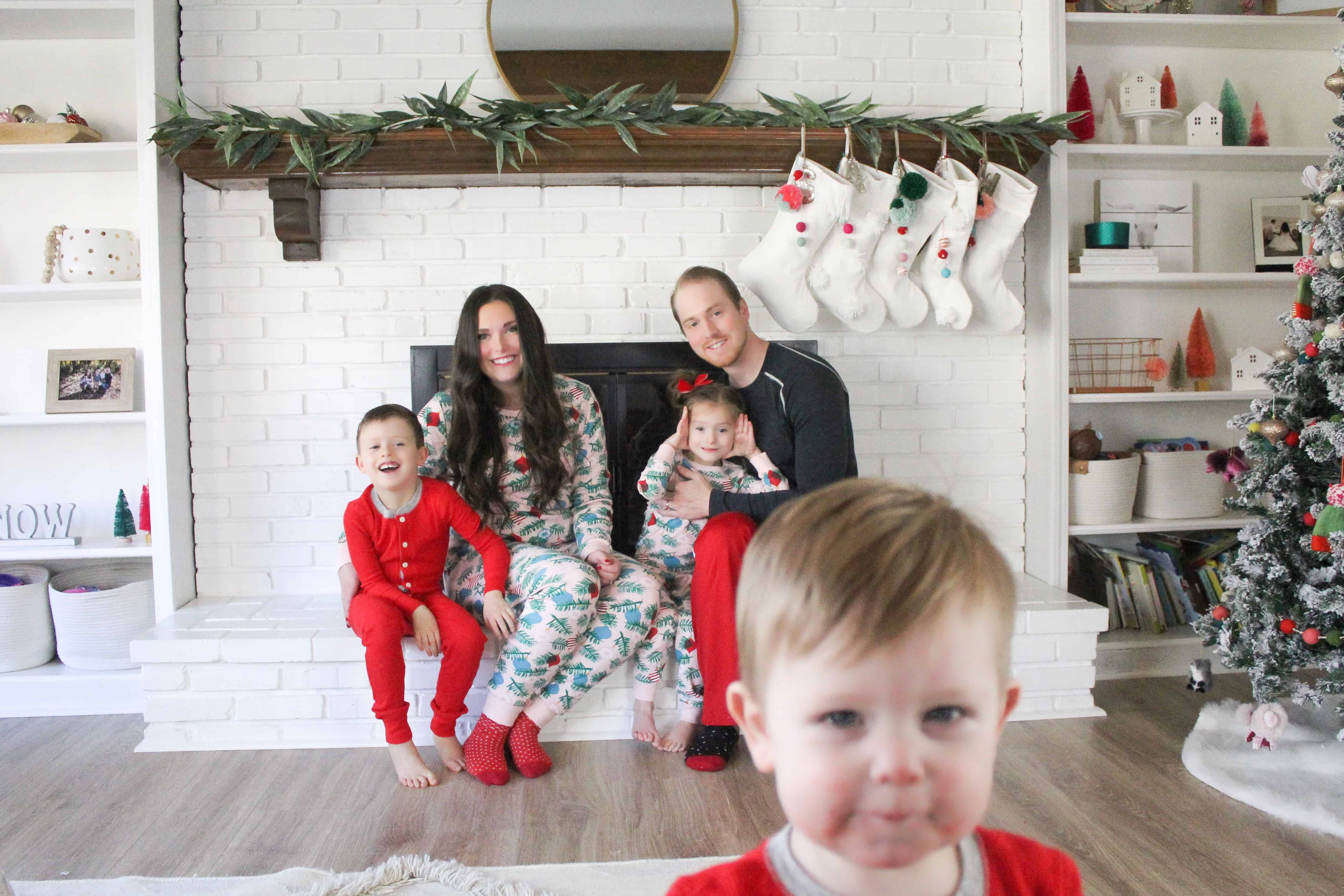 Family in Christmas Pajamas on Mantle